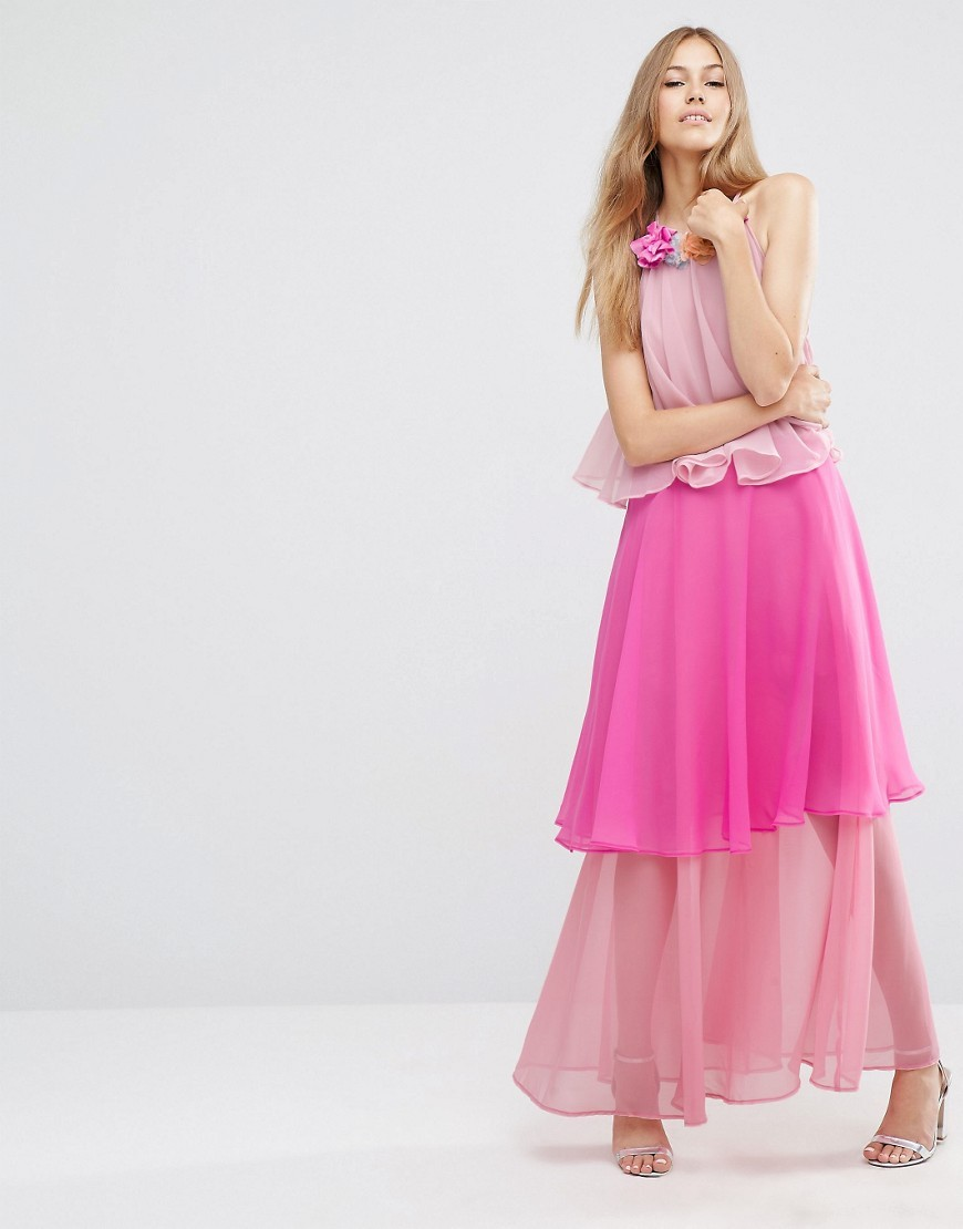 Tiered Colour Block Maxi Dress With Corsage Pink - pattern: plain; sleeve style: sleeveless; style: maxi dress; length: ankle length; waist detail: peplum waist detail; predominant colour: hot pink; secondary colour: nude; occasions: evening; fit: body skimming; fibres: polyester/polyamide - 100%; neckline: crew; sleeve length: sleeveless; texture group: sheer fabrics/chiffon/organza etc.; hip detail: ruffles/tiers/tie detail at hip; pattern type: fabric; embellishment: corsage; multicoloured: multicoloured; season: a/w 2016; wardrobe: event