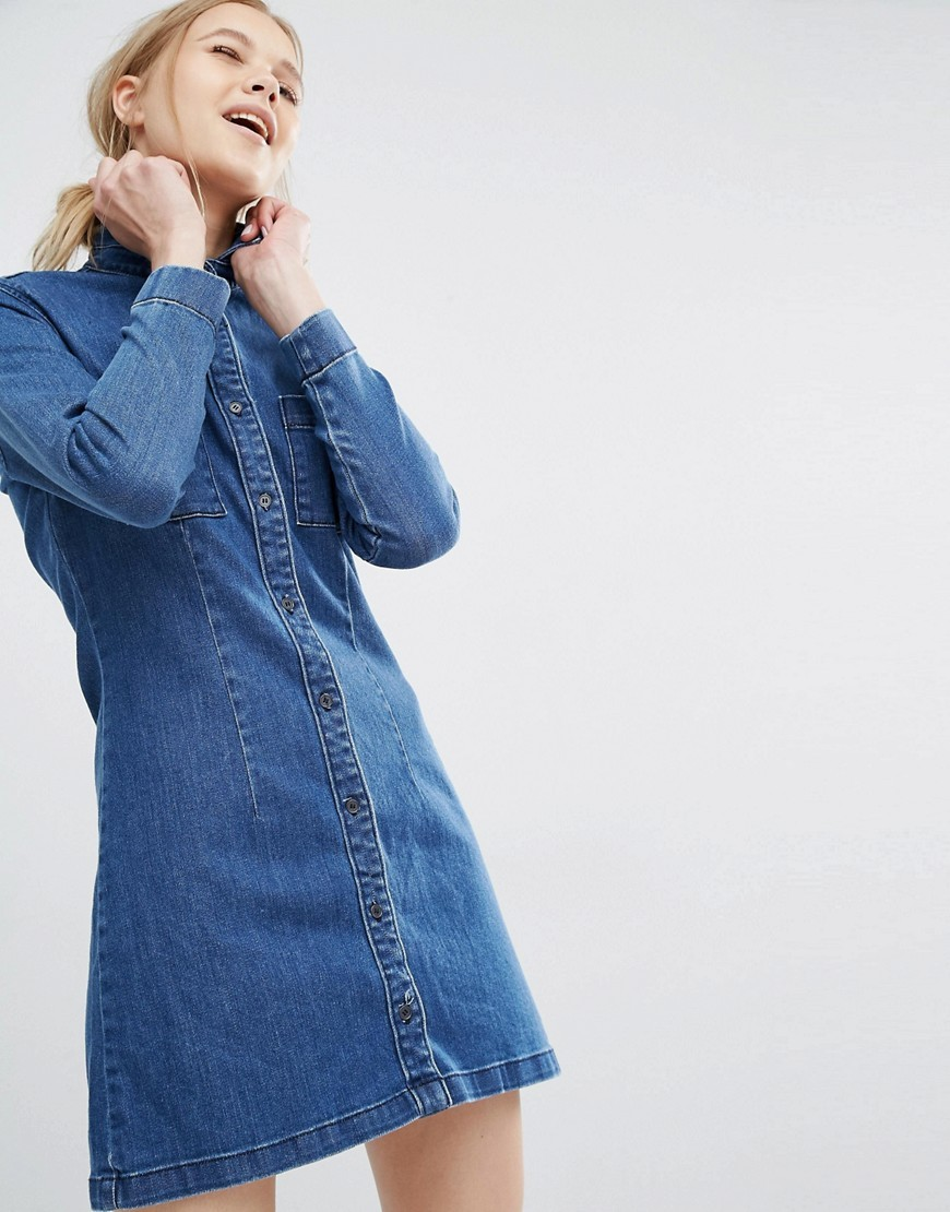 Fonda Denim Shirt Dress Mid Blue - style: shirt; neckline: shirt collar/peter pan/zip with opening; pattern: plain; predominant colour: navy; occasions: casual; length: just above the knee; fit: body skimming; fibres: cotton - 100%; hip detail: structured pleats at hip; sleeve length: long sleeve; sleeve style: standard; texture group: denim; pattern type: fabric; wardrobe: basic; season: a/w 2016