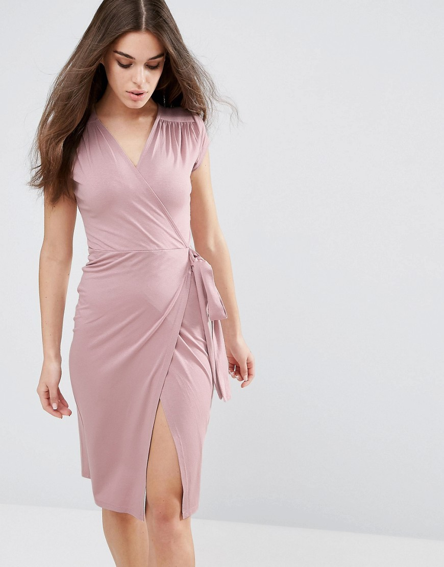 Pencil Dress With Wrap Front And Short Sleeve Mink - style: faux wrap/wrap; neckline: v-neck; sleeve style: capped; pattern: plain; waist detail: belted waist/tie at waist/drawstring; predominant colour: blush; occasions: evening; length: on the knee; fit: body skimming; fibres: viscose/rayon - stretch; hip detail: slits at hip; sleeve length: short sleeve; pattern type: fabric; texture group: jersey - stretchy/drapey; season: a/w 2016; wardrobe: event