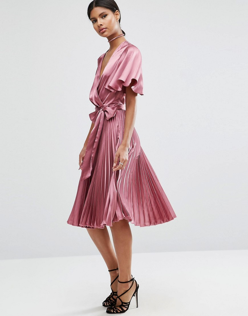 Pleated Wrap Midi Dress In Satin Lilac - style: faux wrap/wrap; length: below the knee; neckline: low v-neck; pattern: plain; waist detail: belted waist/tie at waist/drawstring; occasions: evening; fit: body skimming; fibres: polyester/polyamide - 100%; sleeve length: short sleeve; sleeve style: standard; pattern type: fabric; texture group: other - light to midweight; predominant colour: dusky pink; season: a/w 2016; wardrobe: event
