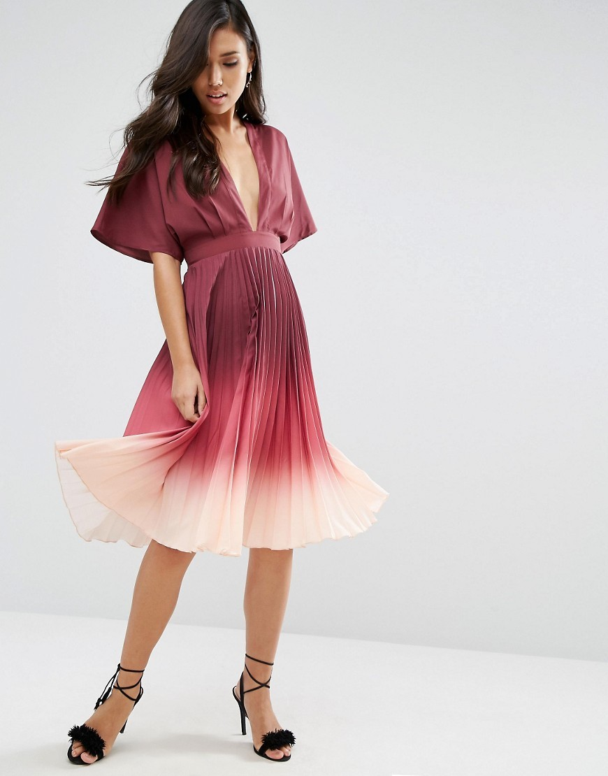 Ombre Pleated Kaftan Midi Dress Burgundy - length: calf length; neckline: low v-neck; fit: fitted at waist; pattern: plain; style: prom dress; secondary colour: blush; predominant colour: burgundy; occasions: evening; fibres: polyester/polyamide - 100%; sleeve length: half sleeve; sleeve style: standard; texture group: sheer fabrics/chiffon/organza etc.; pattern type: fabric; multicoloured: multicoloured; season: a/w 2016; wardrobe: event