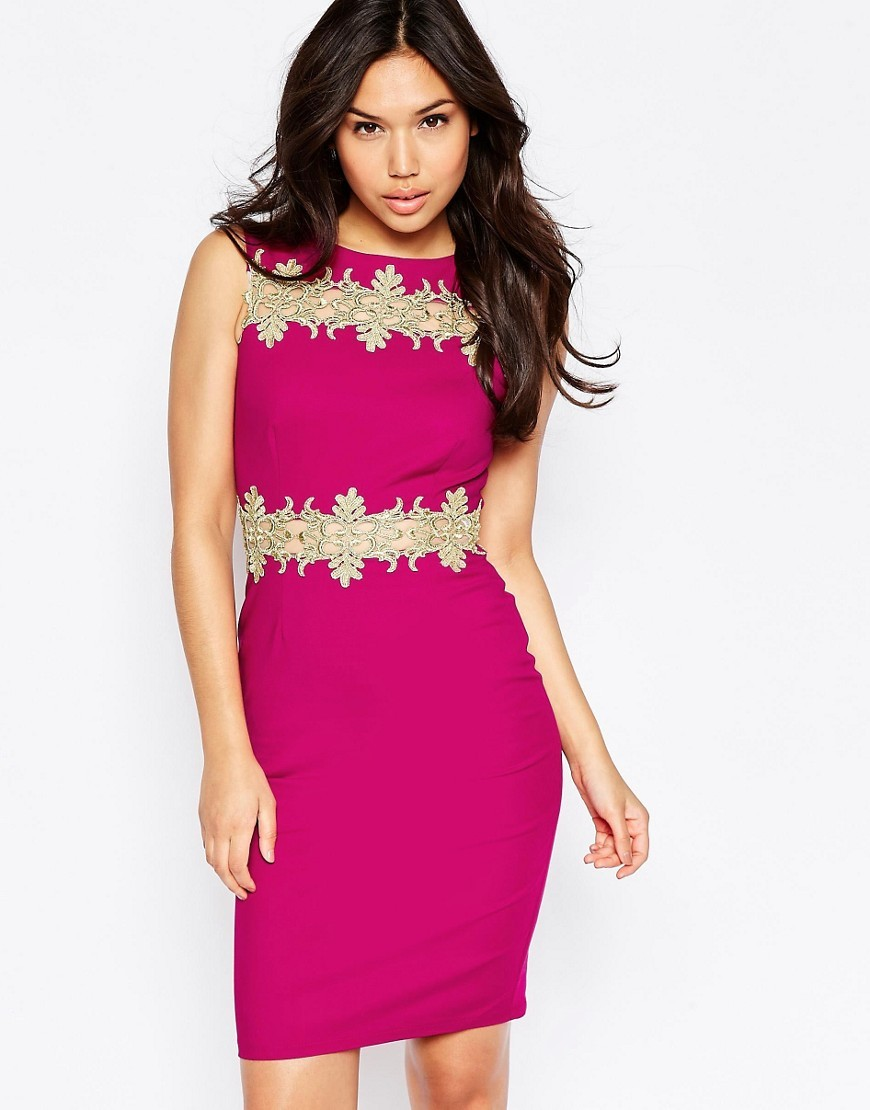 Midi Dress With Gold Lace Trim Berry - fit: tight; pattern: plain; sleeve style: sleeveless; style: bodycon; predominant colour: hot pink; secondary colour: gold; occasions: evening; length: just above the knee; fibres: polyester/polyamide - 100%; neckline: crew; sleeve length: sleeveless; texture group: jersey - clingy; pattern type: fabric; embellishment: lace; multicoloured: multicoloured; season: a/w 2016; wardrobe: event; embellishment location: bust, waist