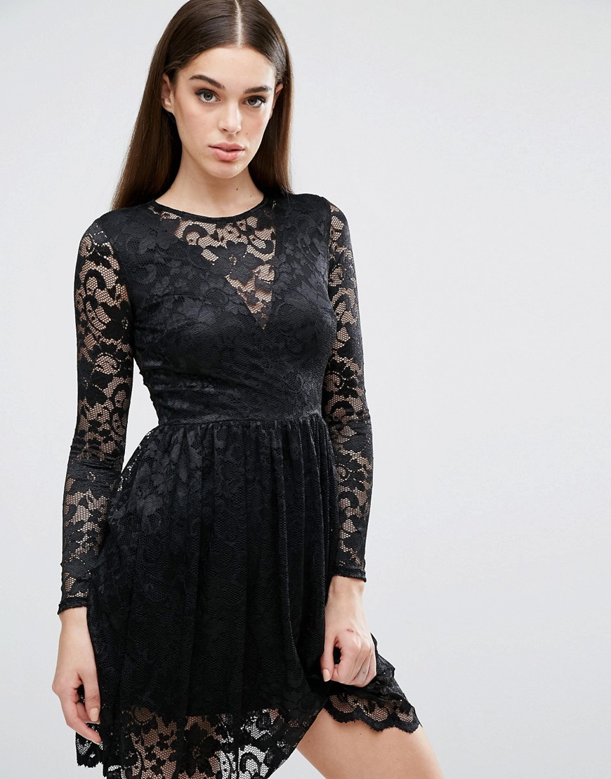 Long Sleeve Lace Skater Dress With V Front Plunge Black - bust detail: sheer at bust; predominant colour: black; occasions: evening; length: just above the knee; fit: fitted at waist & bust; style: fit & flare; fibres: polyester/polyamide - stretch; neckline: crew; sleeve length: long sleeve; sleeve style: standard; texture group: lace; pattern type: fabric; pattern: patterned/print; season: a/w 2016; wardrobe: event