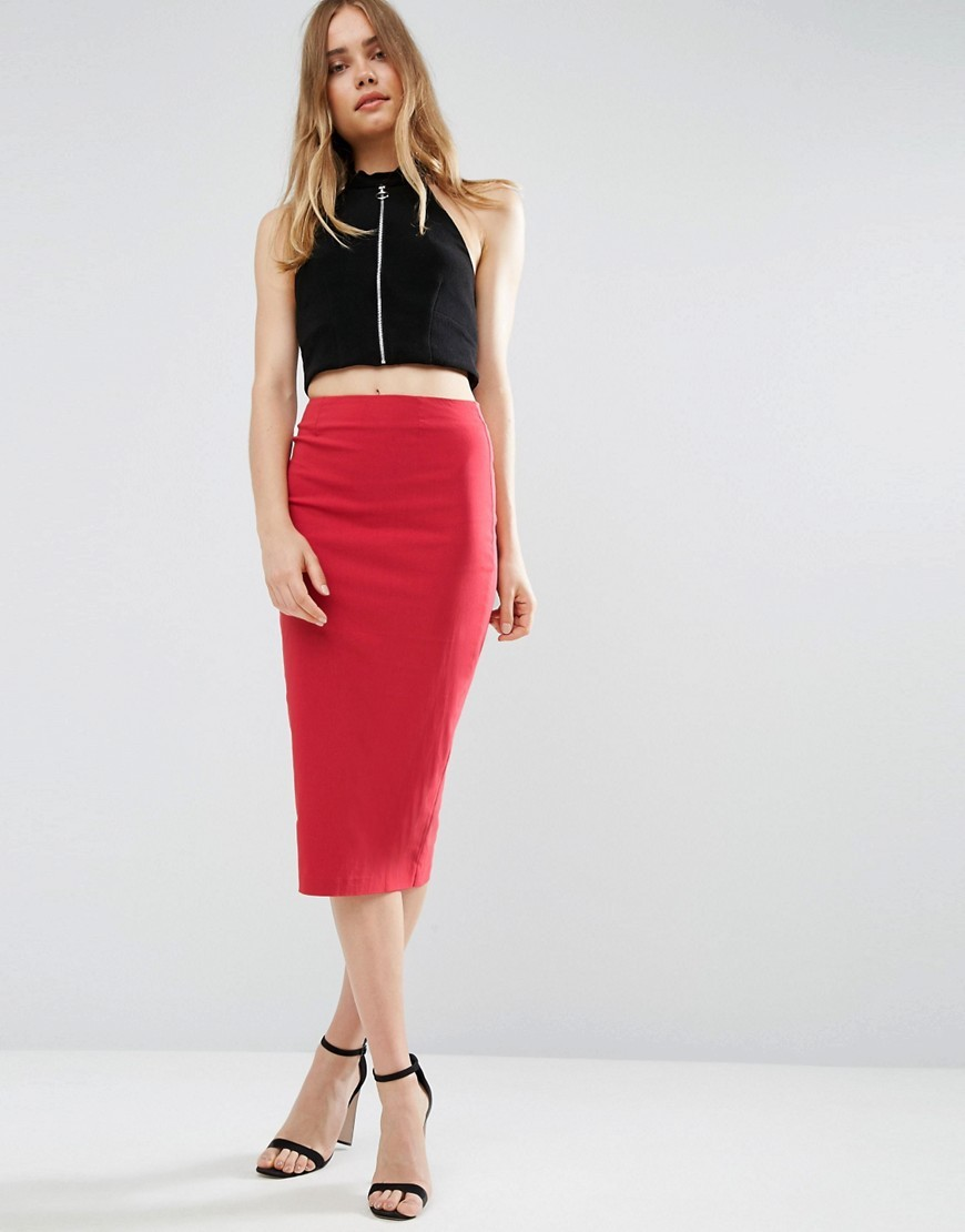 High Waist Longerline Pencil Skirt Rose Pink - length: below the knee; pattern: plain; style: pencil; fit: tight; waist: mid/regular rise; predominant colour: true red; occasions: evening; fibres: viscose/rayon - stretch; texture group: jersey - clingy; pattern type: fabric; season: a/w 2016; wardrobe: event
