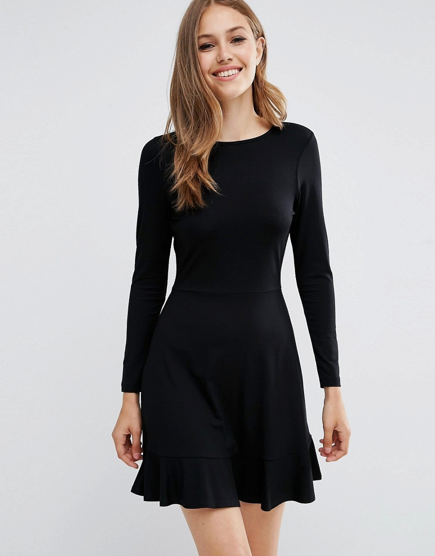 Frill Hem Mini Dress Black - length: mid thigh; pattern: plain; predominant colour: black; occasions: evening; fit: fitted at waist & bust; style: fit & flare; fibres: viscose/rayon - stretch; neckline: crew; sleeve length: long sleeve; sleeve style: standard; pattern type: fabric; texture group: jersey - stretchy/drapey; season: a/w 2016; wardrobe: event