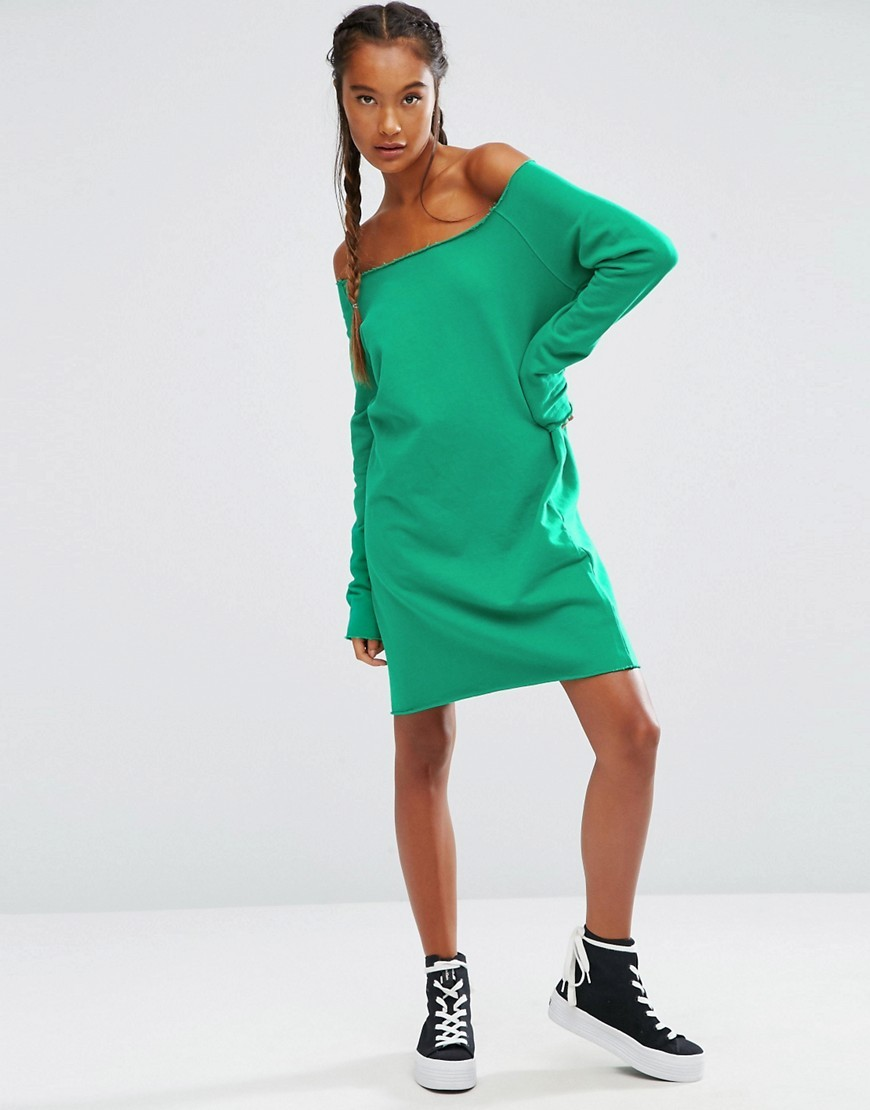 Off Shoulder Sweat Dress Bright Green - style: jumper dress; neckline: off the shoulder; fit: loose; pattern: plain; predominant colour: emerald green; occasions: casual; length: just above the knee; fibres: cotton - 100%; sleeve length: long sleeve; sleeve style: standard; pattern type: fabric; texture group: jersey - stretchy/drapey; season: a/w 2016; wardrobe: highlight
