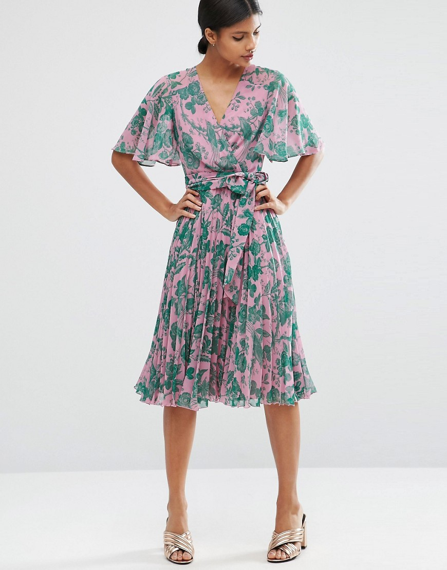 Pleated Midi Dress In Floral Print Multi - style: faux wrap/wrap; length: below the knee; neckline: low v-neck; waist detail: belted waist/tie at waist/drawstring; predominant colour: blush; secondary colour: teal; occasions: evening; fit: body skimming; fibres: polyester/polyamide - 100%; sleeve length: half sleeve; sleeve style: standard; texture group: sheer fabrics/chiffon/organza etc.; pattern type: fabric; pattern size: big & busy; pattern: florals; multicoloured: multicoloured; season: a/w 2016; wardrobe: event