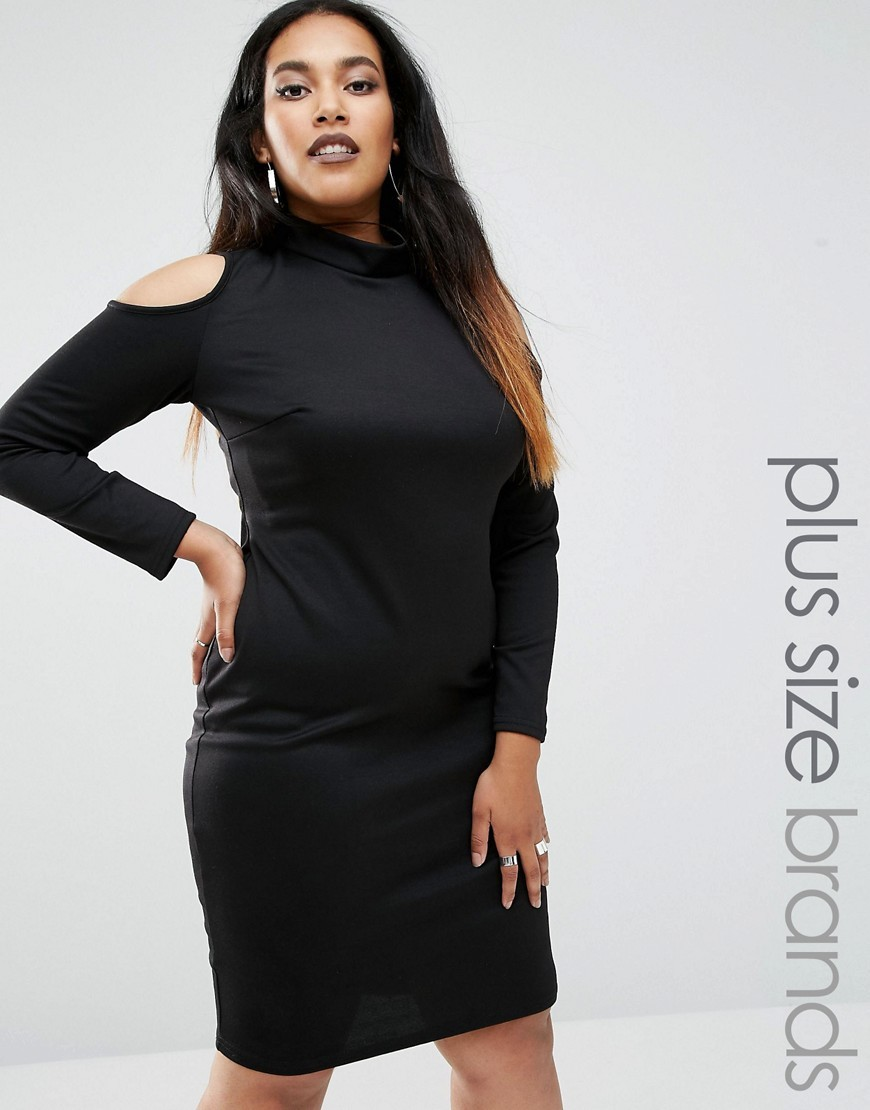 Plus Midi Dress With Cold Shoulder Black - fit: tight; pattern: plain; neckline: high neck; style: bodycon; predominant colour: bronze; occasions: evening; length: on the knee; fibres: polyester/polyamide - stretch; shoulder detail: cut out shoulder; sleeve length: long sleeve; sleeve style: standard; texture group: jersey - clingy; pattern type: fabric; season: a/w 2016