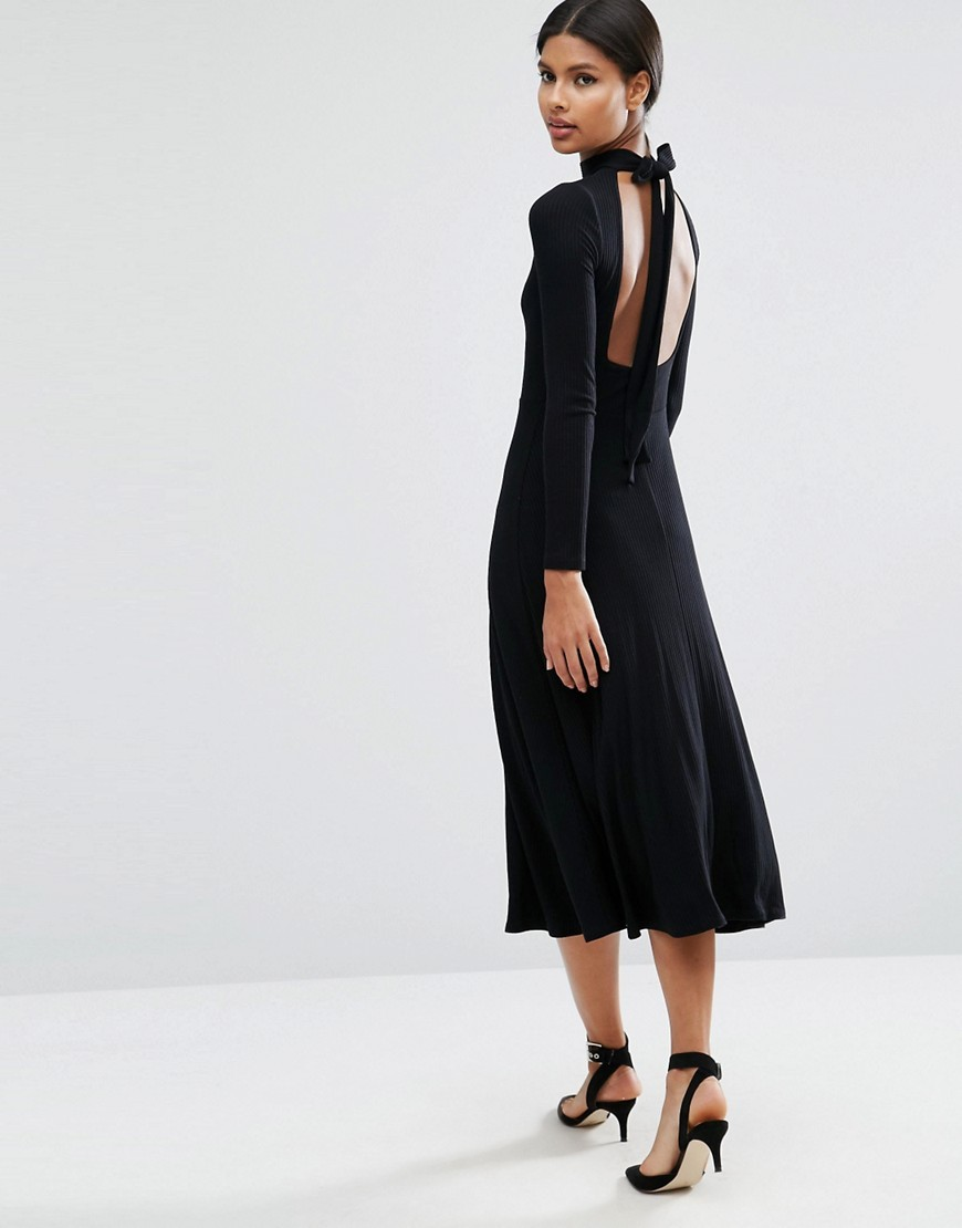 Midi Dress In Rib With Open Back Black - length: calf length; pattern: plain; neckline: high neck; back detail: low cut/open back; predominant colour: black; occasions: evening; fit: fitted at waist & bust; style: fit & flare; fibres: viscose/rayon - stretch; sleeve length: long sleeve; sleeve style: standard; pattern type: fabric; texture group: jersey - stretchy/drapey; season: a/w 2016