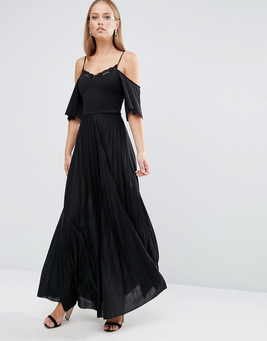 Cold Shoulder Pleated Maxi Dress With Lace Detail Black - neckline: v-neck; pattern: plain; style: maxi dress; waist detail: belted waist/tie at waist/drawstring; predominant colour: black; occasions: evening; length: floor length; fit: body skimming; fibres: polyester/polyamide - 100%; shoulder detail: cut out shoulder; sleeve length: half sleeve; sleeve style: standard; pattern type: fabric; texture group: other - light to midweight; season: a/w 2016; wardrobe: event