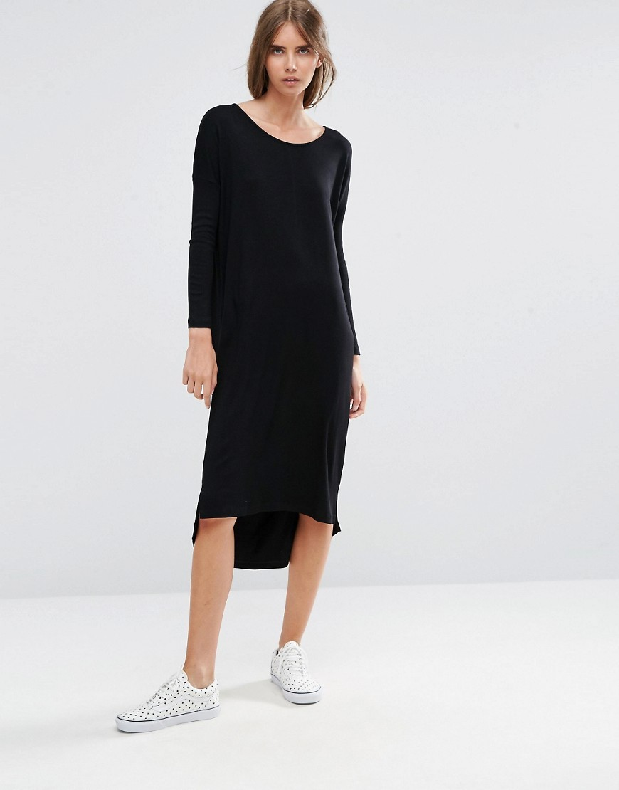 Slouch Oversize T Shirt Dress In Baby Rib Black - style: t-shirt; length: below the knee; neckline: round neck; pattern: plain; predominant colour: black; occasions: casual; fit: body skimming; fibres: viscose/rayon - stretch; sleeve length: long sleeve; sleeve style: standard; pattern type: fabric; texture group: jersey - stretchy/drapey; wardrobe: basic; season: a/w 2016