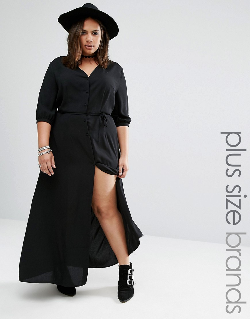 Maxi Tea Dress With Tie Waist Black - neckline: v-neck; fit: loose; pattern: plain; style: maxi dress; waist detail: belted waist/tie at waist/drawstring; predominant colour: black; occasions: evening; length: floor length; fibres: polyester/polyamide - 100%; sleeve length: half sleeve; sleeve style: standard; pattern type: fabric; texture group: other - light to midweight; season: a/w 2016; wardrobe: event