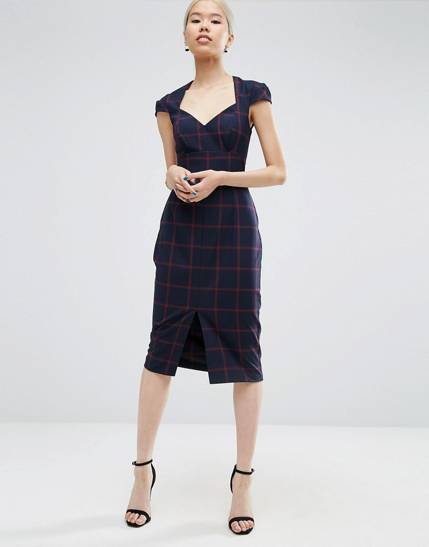 Pencil Dress With Sweetheart Neck In Check Multi - style: shift; length: below the knee; sleeve style: capped; fit: tailored/fitted; pattern: checked/gingham; neckline: sweetheart; secondary colour: true red; predominant colour: navy; occasions: evening, work; fibres: polyester/polyamide - stretch; sleeve length: short sleeve; pattern type: fabric; texture group: woven light midweight; multicoloured: multicoloured; season: a/w 2016; wardrobe: highlight