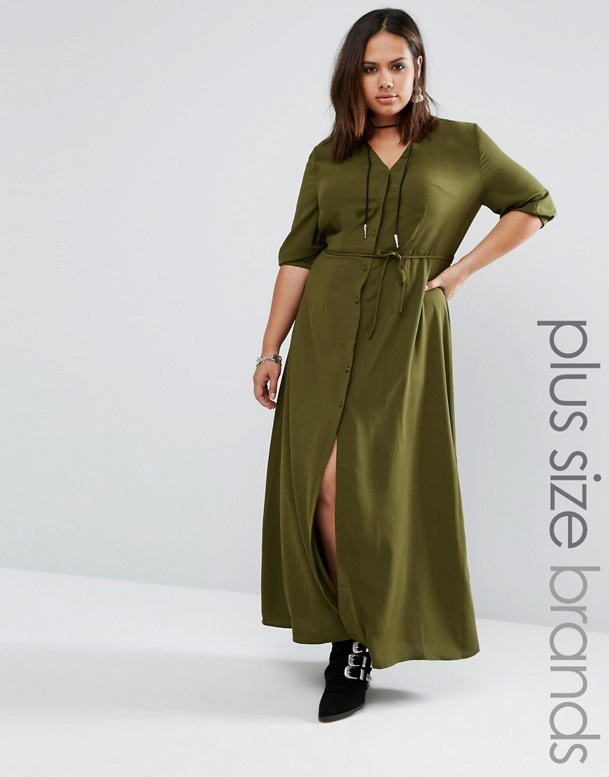 Maxi Tea Dress With Tie Waist Khaki - neckline: v-neck; pattern: plain; style: maxi dress; length: ankle length; hip detail: draws attention to hips; waist detail: belted waist/tie at waist/drawstring; predominant colour: khaki; occasions: casual; fit: body skimming; fibres: polyester/polyamide - 100%; sleeve length: half sleeve; sleeve style: standard; pattern type: fabric; texture group: jersey - stretchy/drapey; wardrobe: basic; season: a/w 2016