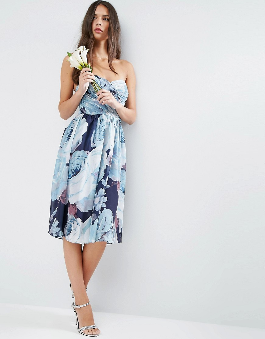 Wedding Chiffon Bandeau Blue Floral Printed Midi Dress Multi - length: below the knee; neckline: strapless (straight/sweetheart); style: prom dress; sleeve style: strapless; predominant colour: pale blue; secondary colour: navy; occasions: evening; fit: body skimming; fibres: polyester/polyamide - 100%; sleeve length: sleeveless; texture group: sheer fabrics/chiffon/organza etc.; pattern type: fabric; pattern size: big & busy; pattern: florals; multicoloured: multicoloured; season: a/w 2016; wardrobe: event