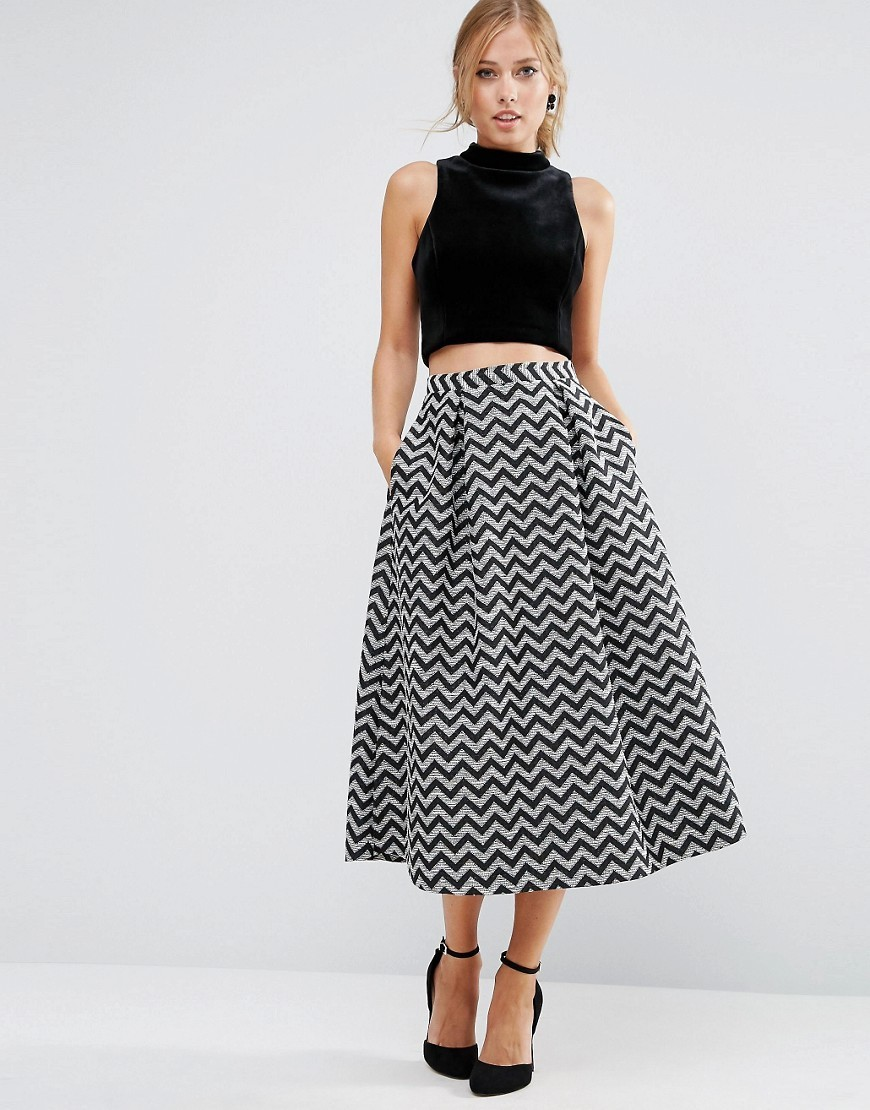 Metallic Jacquard Prom Skirt Mono - length: calf length; style: full/prom skirt; fit: loose/voluminous; waist: mid/regular rise; secondary colour: light grey; predominant colour: black; occasions: evening; fibres: polyester/polyamide - mix; pattern type: fabric; pattern: patterned/print; texture group: brocade/jacquard; multicoloured: multicoloured; season: a/w 2016; wardrobe: event
