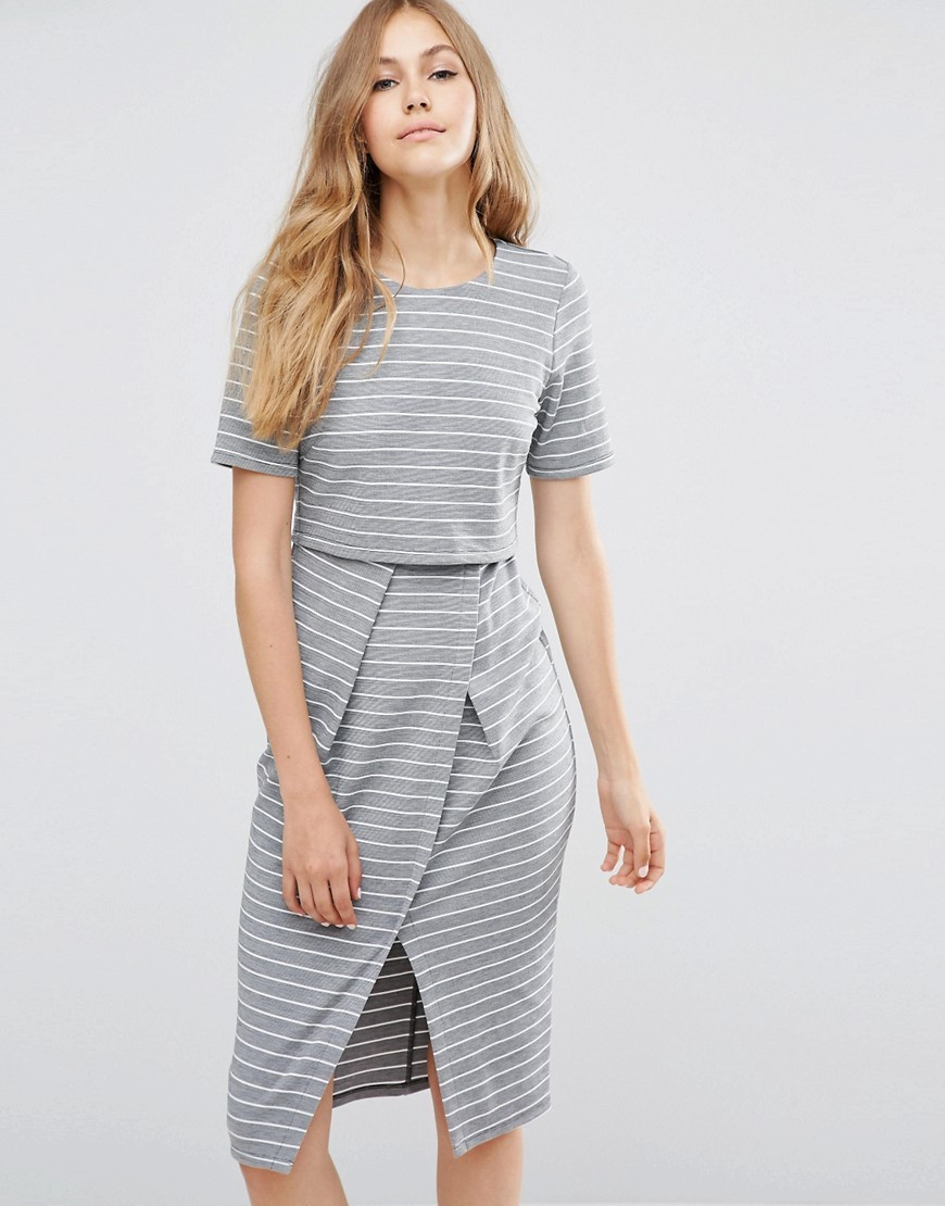 Double Layer Wiggle Dress In Stripe Mutli - style: shift; length: below the knee; pattern: horizontal stripes; secondary colour: white; predominant colour: light grey; occasions: evening; fit: body skimming; fibres: polyester/polyamide - stretch; neckline: crew; hip detail: slits at hip; sleeve length: short sleeve; sleeve style: standard; pattern type: fabric; texture group: jersey - stretchy/drapey; multicoloured: multicoloured; season: a/w 2016