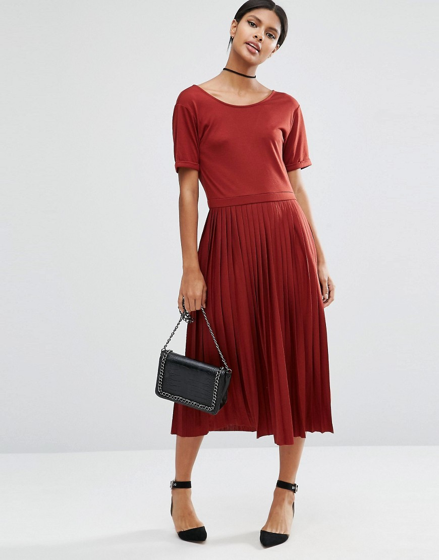 Pleated Midi Dress Rust - length: calf length; neckline: round neck; pattern: plain; predominant colour: true red; occasions: casual; fit: fitted at waist & bust; style: fit & flare; fibres: polyester/polyamide - mix; hip detail: subtle/flattering hip detail; sleeve length: short sleeve; sleeve style: standard; pattern type: fabric; texture group: jersey - stretchy/drapey; season: a/w 2016; wardrobe: highlight