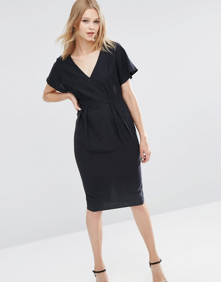 Wiggle Dress With V Front And V Back Black - style: faux wrap/wrap; length: below the knee; neckline: v-neck; fit: tailored/fitted; pattern: plain; predominant colour: black; occasions: evening; fibres: polyester/polyamide - stretch; sleeve length: short sleeve; sleeve style: standard; pattern type: fabric; texture group: jersey - stretchy/drapey; season: a/w 2016; wardrobe: event