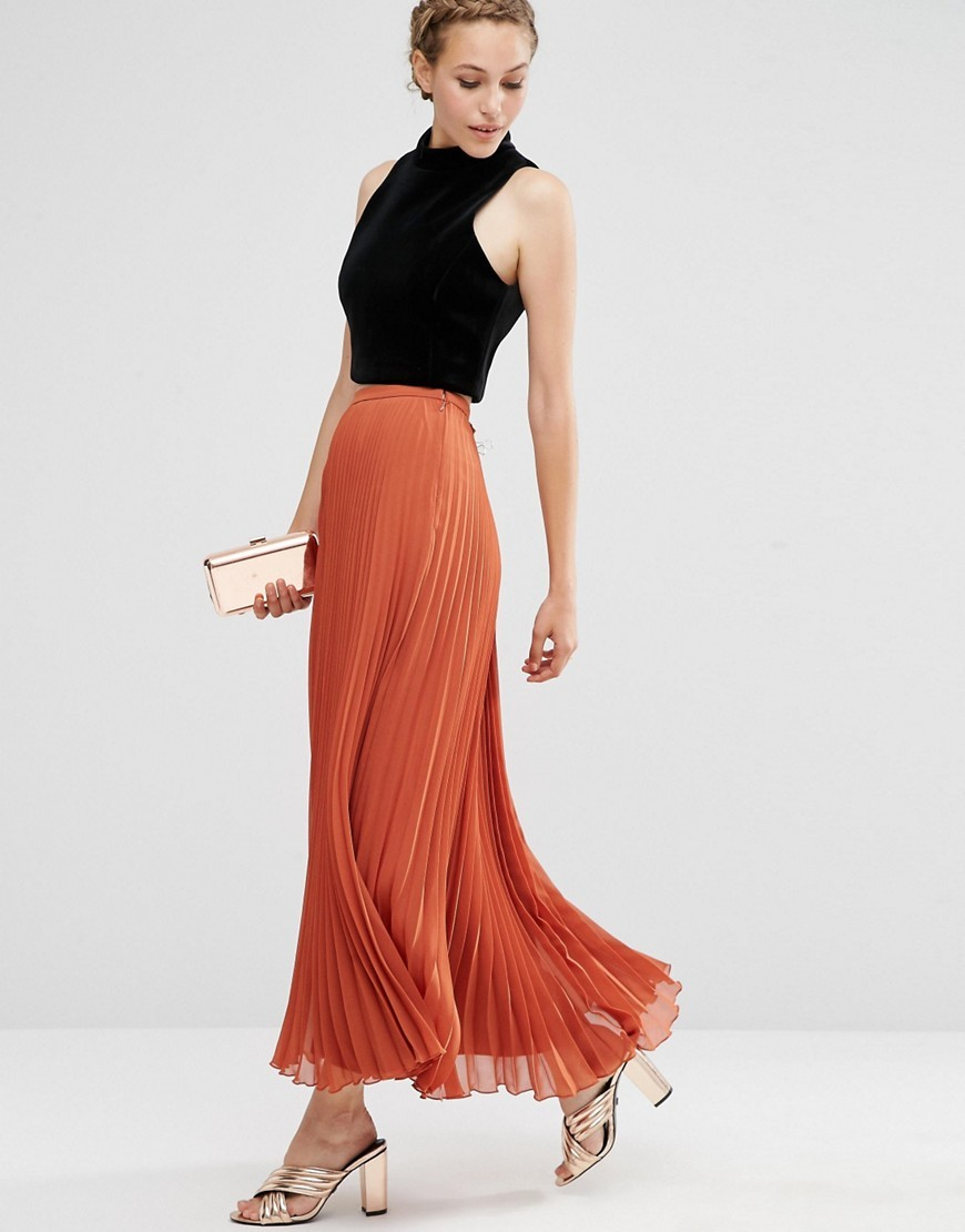 Pleated Maxi Skirt Rust - pattern: plain; length: ankle length; fit: loose/voluminous; waist: high rise; predominant colour: terracotta; occasions: evening, holiday, creative work; style: maxi skirt; fibres: polyester/polyamide - 100%; hip detail: subtle/flattering hip detail; pattern type: fabric; texture group: jersey - stretchy/drapey; season: a/w 2016; wardrobe: highlight