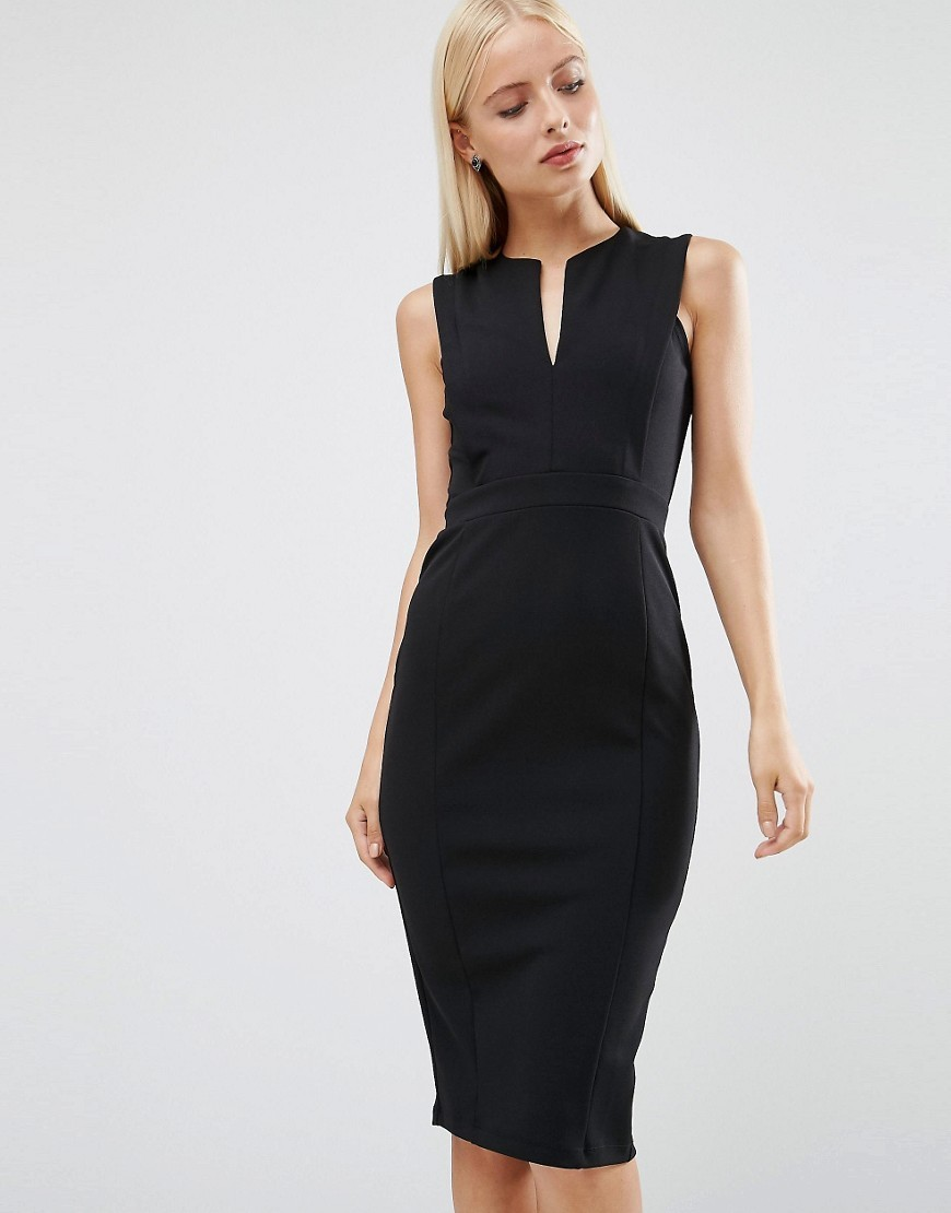 Pencil Dress With Plunge Neckline Black - style: shift; length: below the knee; neckline: v-neck; fit: tight; pattern: plain; sleeve style: sleeveless; predominant colour: black; occasions: evening, work; fibres: polyester/polyamide - stretch; sleeve length: sleeveless; texture group: jersey - clingy; pattern type: fabric; season: a/w 2016; wardrobe: highlight