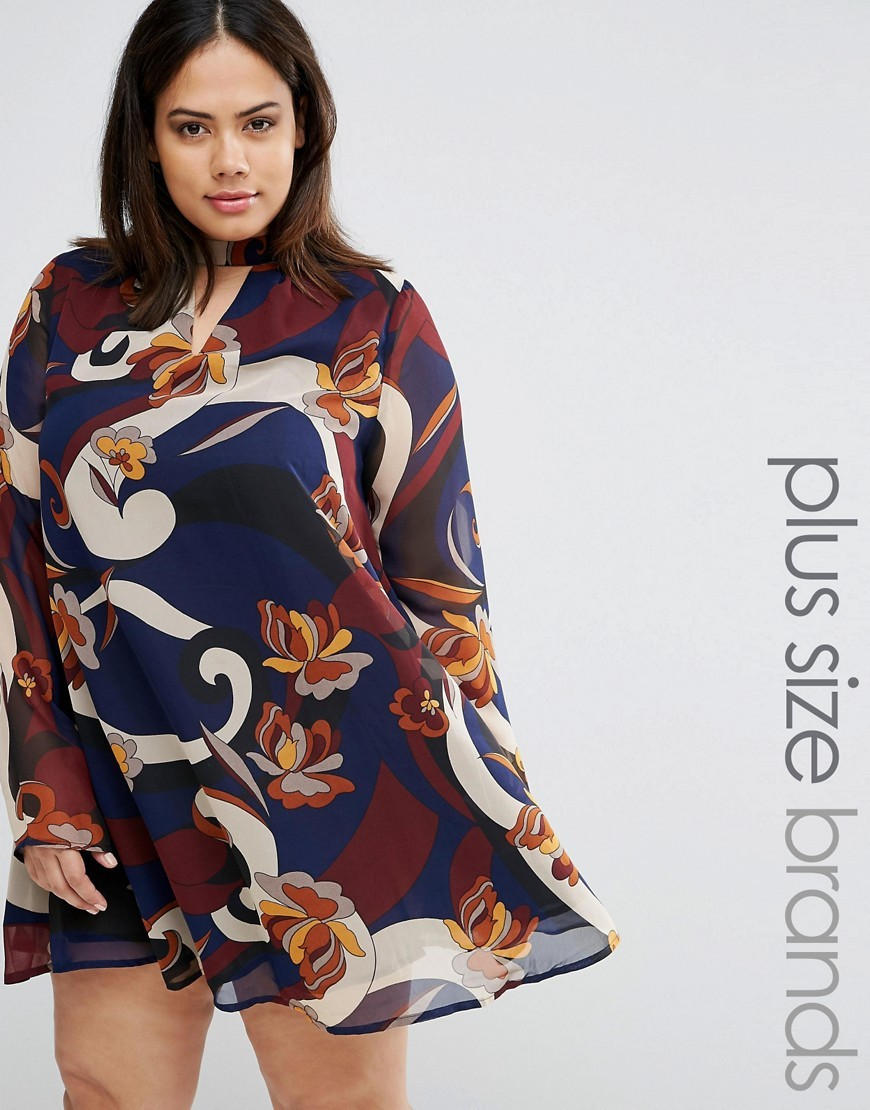 Retro Block Print Dress Multi - style: trapeze; length: mini; fit: loose; predominant colour: navy; secondary colour: terracotta; occasions: evening; neckline: peep hole neckline; fibres: polyester/polyamide - 100%; sleeve length: long sleeve; sleeve style: standard; texture group: sheer fabrics/chiffon/organza etc.; pattern type: fabric; pattern: patterned/print; multicoloured: multicoloured; season: a/w 2016; wardrobe: event