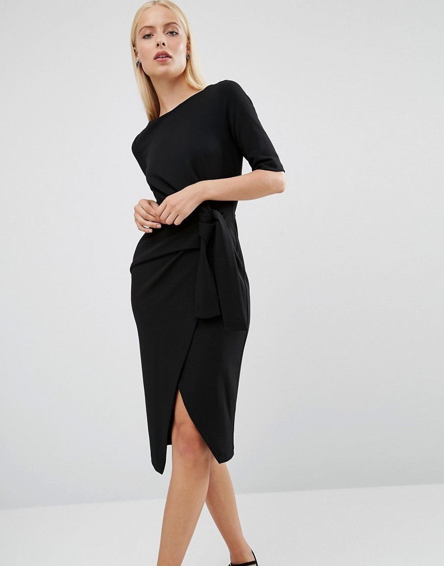Pencil Dress With Knot Front Detail Black - style: shift; length: below the knee; neckline: slash/boat neckline; pattern: plain; waist detail: belted waist/tie at waist/drawstring; predominant colour: black; occasions: evening; fit: body skimming; fibres: polyester/polyamide - stretch; sleeve length: half sleeve; sleeve style: standard; pattern type: fabric; texture group: jersey - stretchy/drapey; season: a/w 2016; wardrobe: event