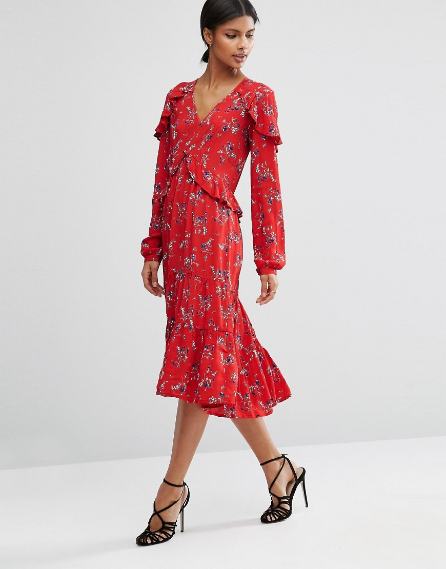 V Neck Ruffle Midi Dress In Vintage Floral Multi - style: shift; length: calf length; neckline: v-neck; secondary colour: white; predominant colour: true red; occasions: casual; fit: body skimming; fibres: viscose/rayon - 100%; waist detail: ruffles at waist; sleeve length: long sleeve; sleeve style: standard; pattern type: fabric; pattern: florals; texture group: jersey - stretchy/drapey; multicoloured: multicoloured; season: a/w 2016