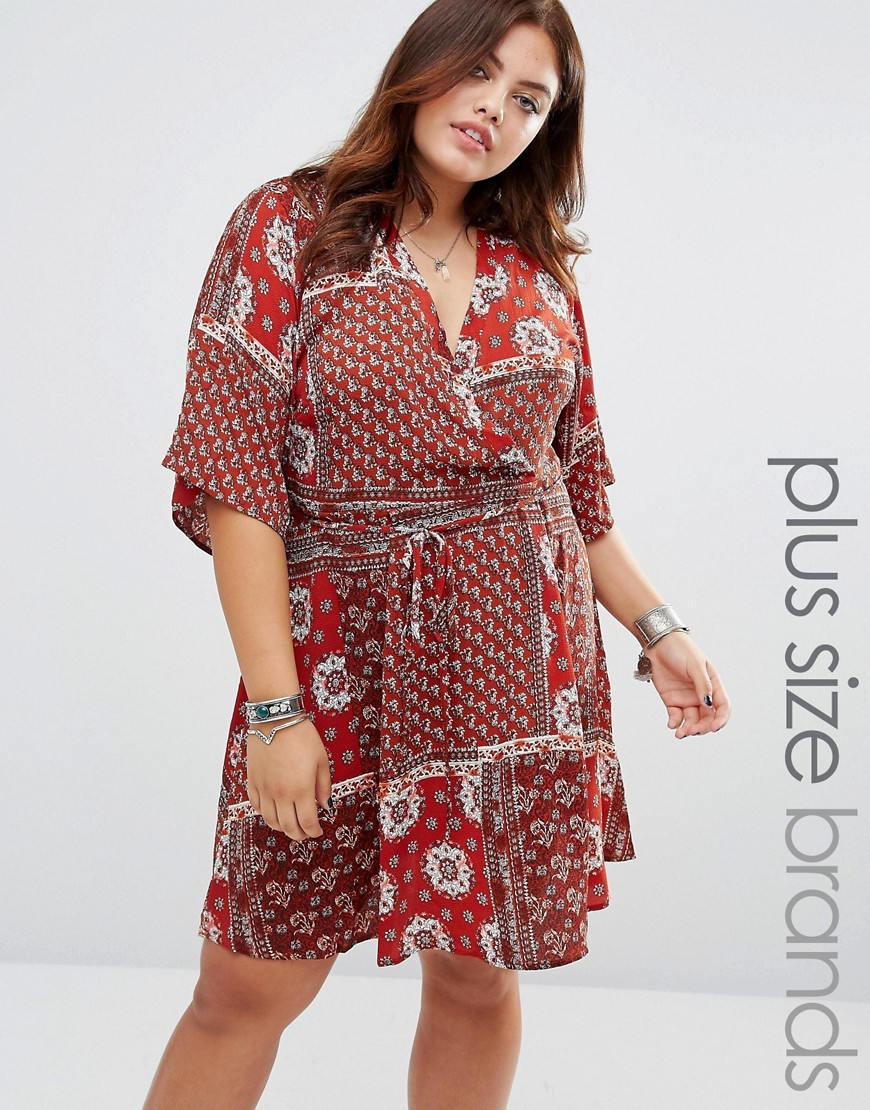 Short Kimono Sleeve Tea Dress Multi - style: faux wrap/wrap; neckline: v-neck; waist detail: belted waist/tie at waist/drawstring; predominant colour: true red; secondary colour: light grey; occasions: casual; length: just above the knee; fit: body skimming; fibres: polyester/polyamide - 100%; sleeve length: 3/4 length; sleeve style: standard; pattern type: fabric; pattern: patterned/print; texture group: jersey - stretchy/drapey; multicoloured: multicoloured; season: a/w 2016; wardrobe: highlight