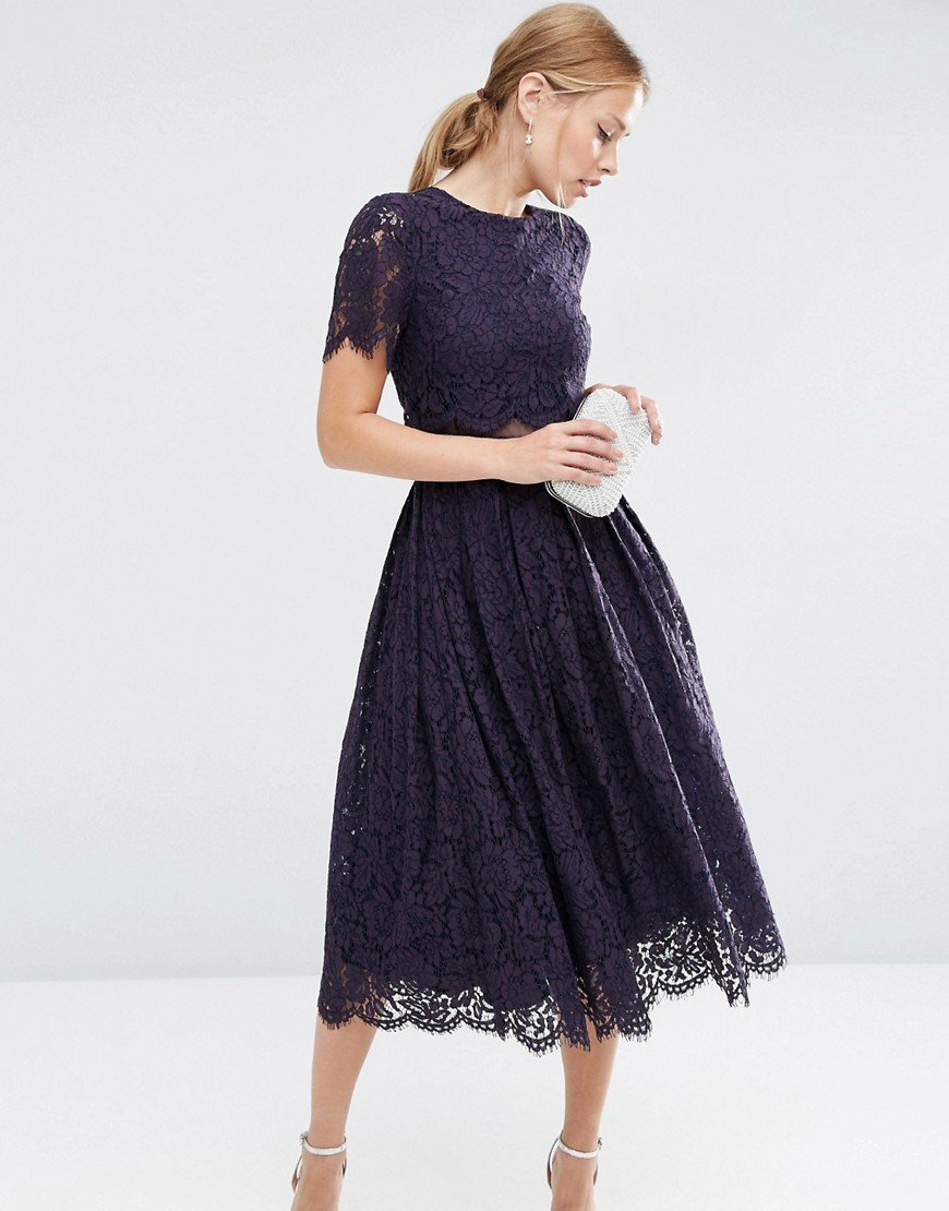 Lace Crop Top Midi Prom Dress Navy - pattern: plain; length: cropped; predominant colour: navy; occasions: evening; style: top; fibres: polyester/polyamide - 100%; fit: body skimming; neckline: crew; sleeve length: short sleeve; sleeve style: standard; texture group: lace; pattern type: fabric; season: a/w 2016