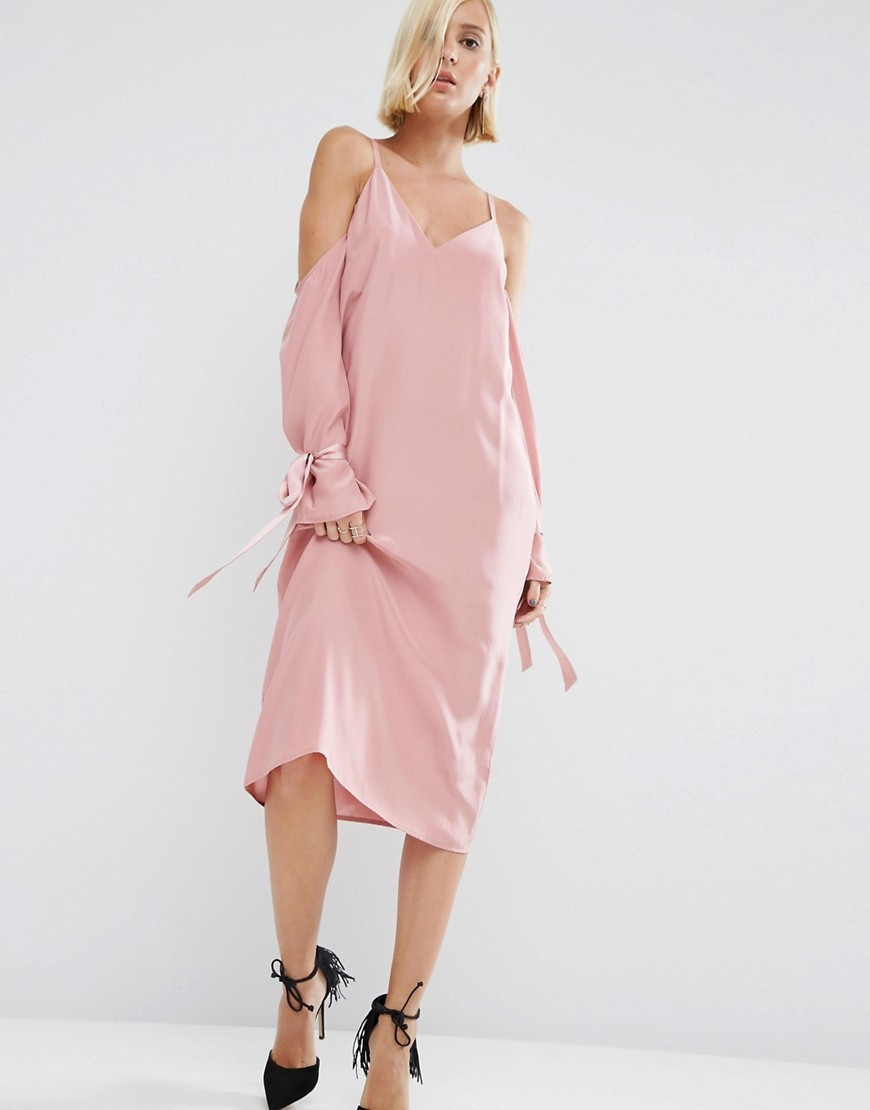 100% Silk Cami Dress With Sleeve Detail Pink - length: calf length; neckline: low v-neck; pattern: plain; predominant colour: blush; occasions: evening; fit: body skimming; style: slip dress; fibres: silk - 100%; shoulder detail: cut out shoulder; sleeve length: long sleeve; sleeve style: standard; texture group: silky - light; pattern type: fabric; season: a/w 2016; wardrobe: event