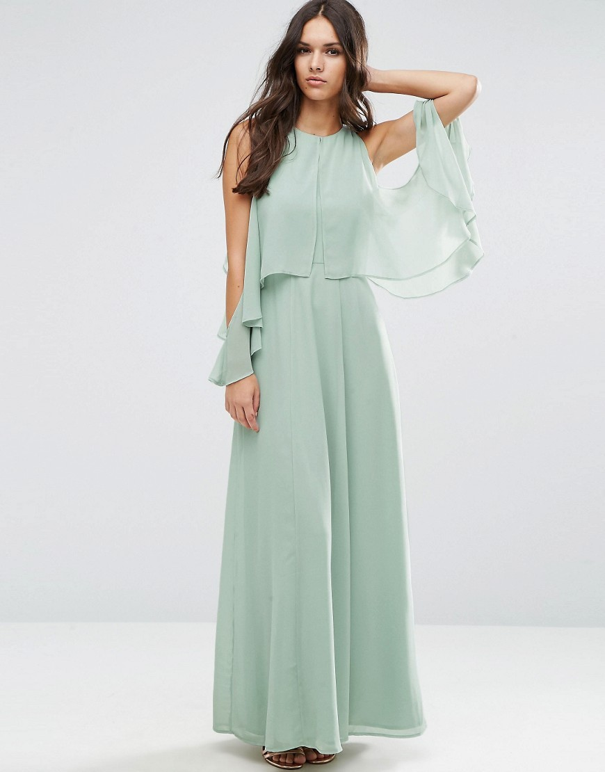Extreme Cold Shoulder Maxi Dress Soft Mint - sleeve style: angel/waterfall; pattern: plain; style: maxi dress; length: ankle length; predominant colour: pistachio; occasions: evening, occasion; fit: soft a-line; fibres: polyester/polyamide - 100%; neckline: crew; shoulder detail: cut out shoulder; sleeve length: long sleeve; texture group: sheer fabrics/chiffon/organza etc.; pattern type: fabric; season: a/w 2016; wardrobe: event