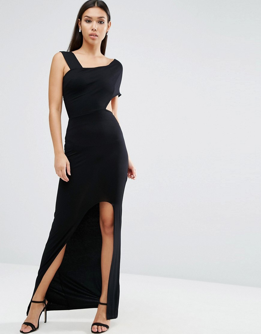 Wide Strap Off The Shoulder Bardot Maxi Dress Black - fit: tight; pattern: plain; style: maxi dress; sleeve style: asymmetric sleeve; hip detail: draws attention to hips; predominant colour: black; occasions: evening, occasion; length: floor length; fibres: viscose/rayon - stretch; sleeve length: sleeveless; texture group: jersey - clingy; neckline: medium square neck; pattern type: fabric; season: a/w 2016; wardrobe: event