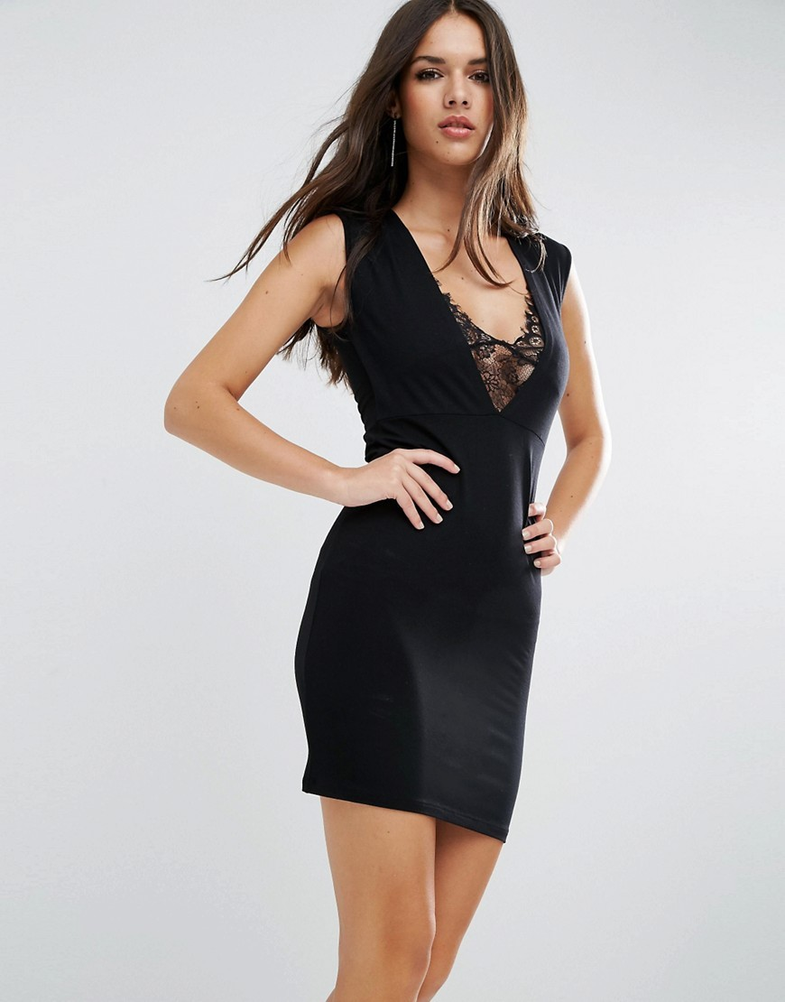 Lace Insert Plunge Mini Dress Black - length: mini; neckline: low v-neck; fit: tight; pattern: plain; sleeve style: sleeveless; style: bodycon; predominant colour: black; occasions: evening; fibres: viscose/rayon - stretch; sleeve length: sleeveless; texture group: jersey - clingy; pattern type: fabric; embellishment: lace; season: a/w 2016