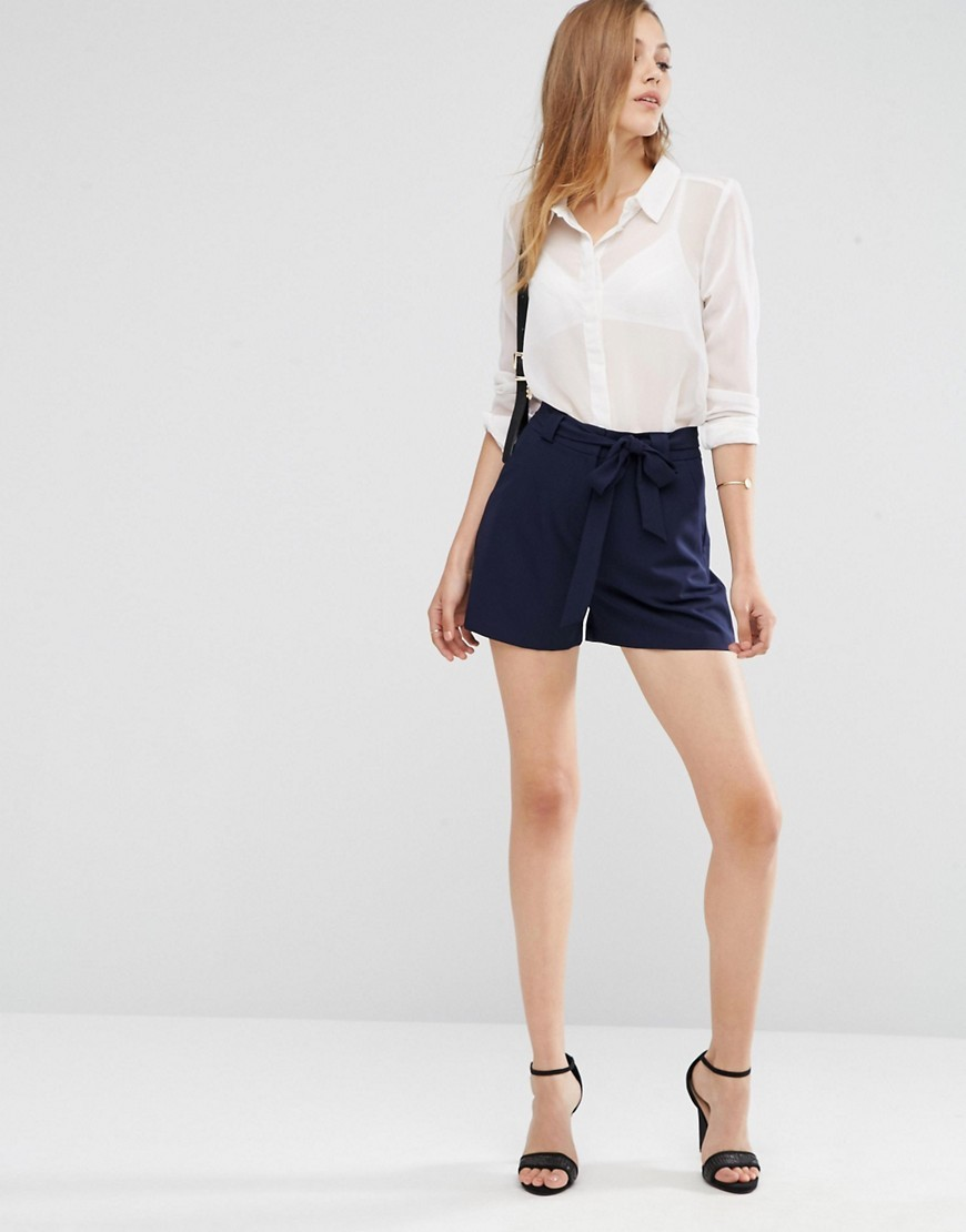 High Waist Short With Belt Navy - pattern: plain; waist: high rise; predominant colour: navy; occasions: casual, evening; fibres: polyester/polyamide - stretch; pattern type: fabric; texture group: woven light midweight; wardrobe: basic; style: shorts; length: short shorts; fit: standard; season: a/w 2016