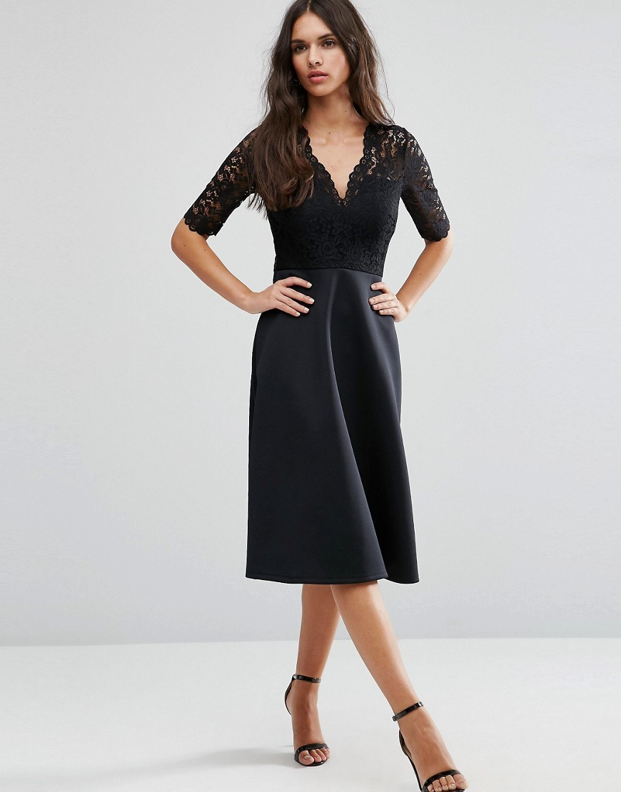 Midi Skater Dress With Scuba Skirt And Lace Top Black - length: below the knee; neckline: v-neck; pattern: plain; predominant colour: black; occasions: evening; fit: fitted at waist & bust; style: fit & flare; fibres: polyester/polyamide - stretch; sleeve length: half sleeve; sleeve style: standard; texture group: lace; pattern type: fabric; season: a/w 2016
