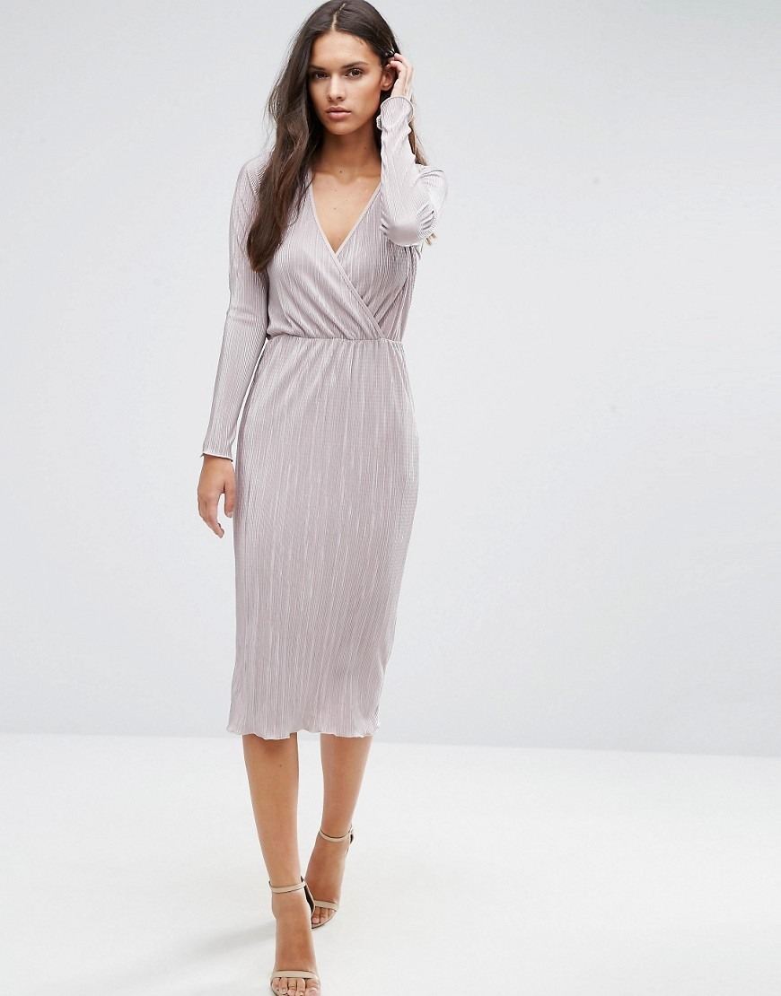 Pencil Plissé Dress With Wrap Detail Mink - style: faux wrap/wrap; length: below the knee; neckline: v-neck; pattern: plain; predominant colour: light grey; occasions: evening; fit: body skimming; fibres: polyester/polyamide - 100%; sleeve length: long sleeve; sleeve style: standard; pattern type: fabric; texture group: jersey - stretchy/drapey; season: a/w 2016; wardrobe: event