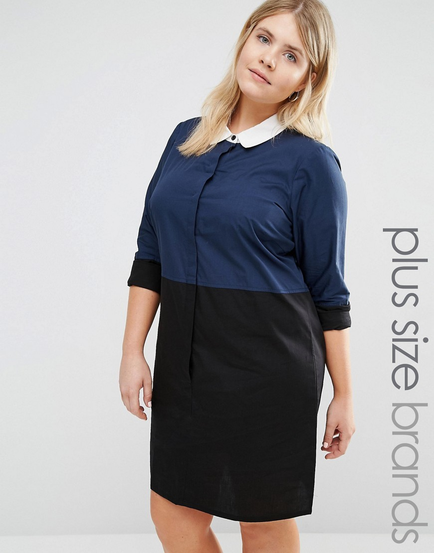 Colour Block Woven Shirt Dress With Hi Lo Hem Multi - style: shirt; length: mid thigh; neckline: shirt collar/peter pan/zip with opening; predominant colour: navy; secondary colour: black; occasions: casual, creative work; fit: straight cut; fibres: cotton - 100%; sleeve length: 3/4 length; sleeve style: standard; texture group: cotton feel fabrics; pattern type: fabric; pattern: colourblock; season: a/w 2016