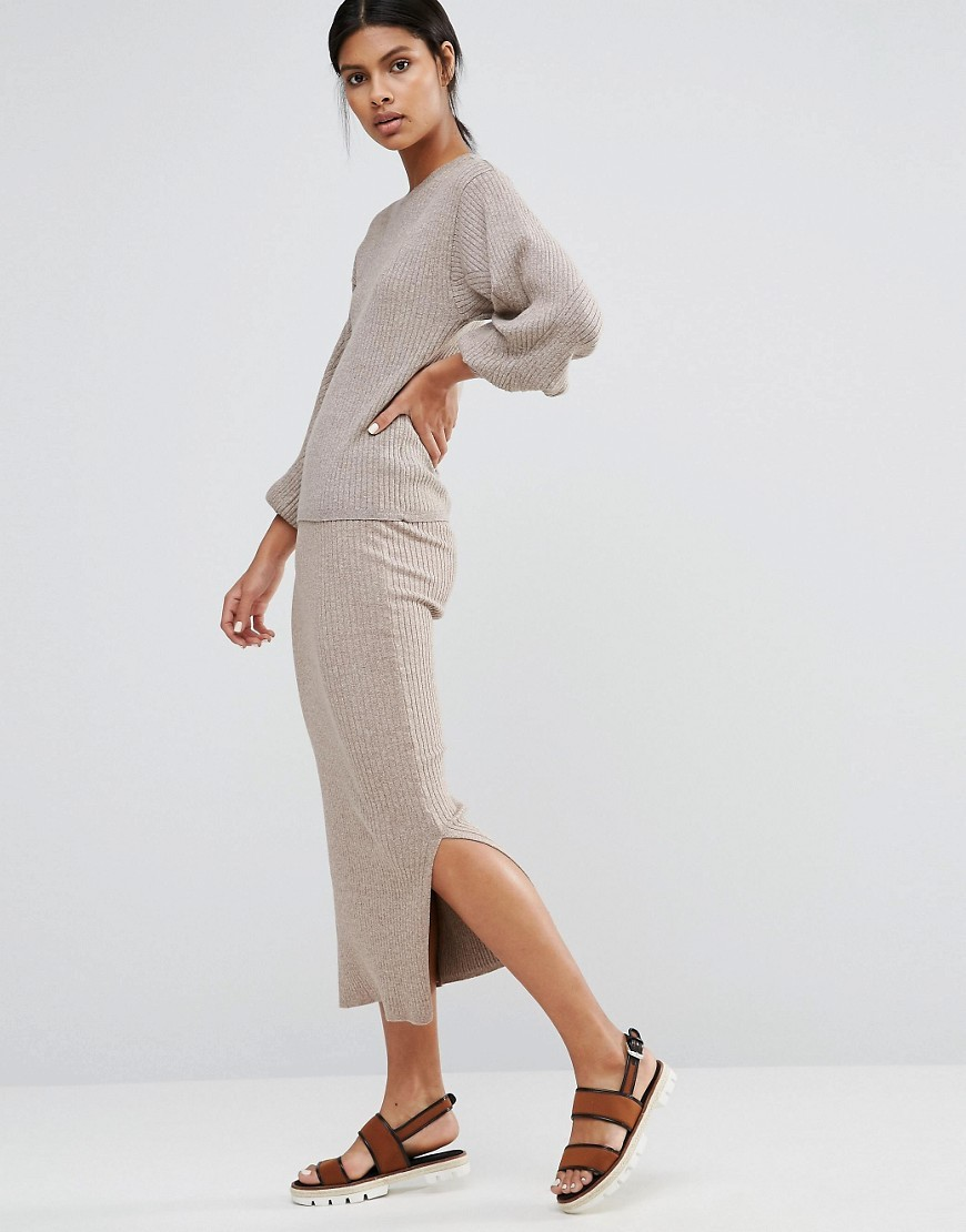 Ribbed Side Split Skirt Neutral Twist - length: calf length; pattern: plain; fit: tight; hip detail: draws attention to hips; waist: mid/regular rise; predominant colour: light grey; occasions: casual; fibres: cotton - stretch; style: tube; texture group: jersey - clingy; pattern type: fabric; wardrobe: basic; season: a/w 2016