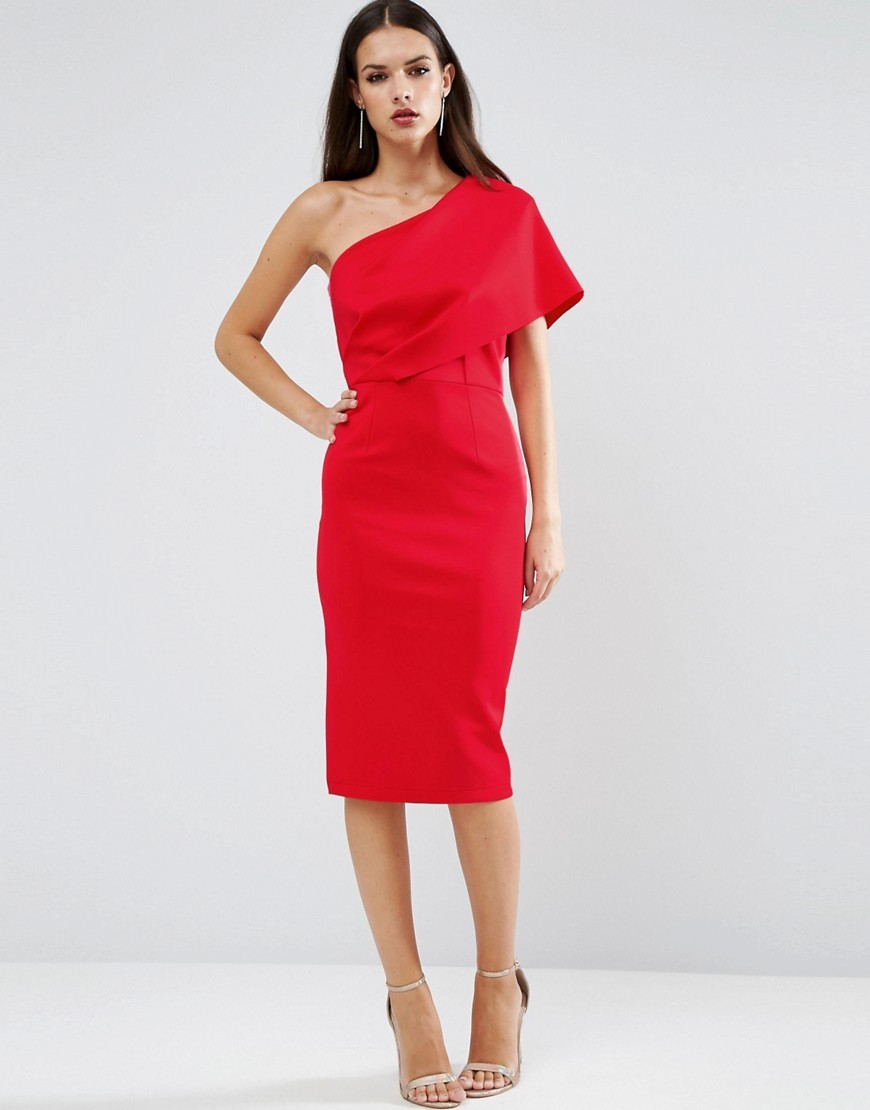 One Shoulder Scuba Deep Fold Midi Dress With Exposed Zip Lipstick Red - style: shift; fit: tailored/fitted; pattern: plain; sleeve style: asymmetric sleeve; neckline: asymmetric; hip detail: draws attention to hips; predominant colour: true red; occasions: evening, occasion; length: on the knee; fibres: polyester/polyamide - 100%; sleeve length: sleeveless; texture group: crepes; pattern type: fabric; season: a/w 2016; wardrobe: event
