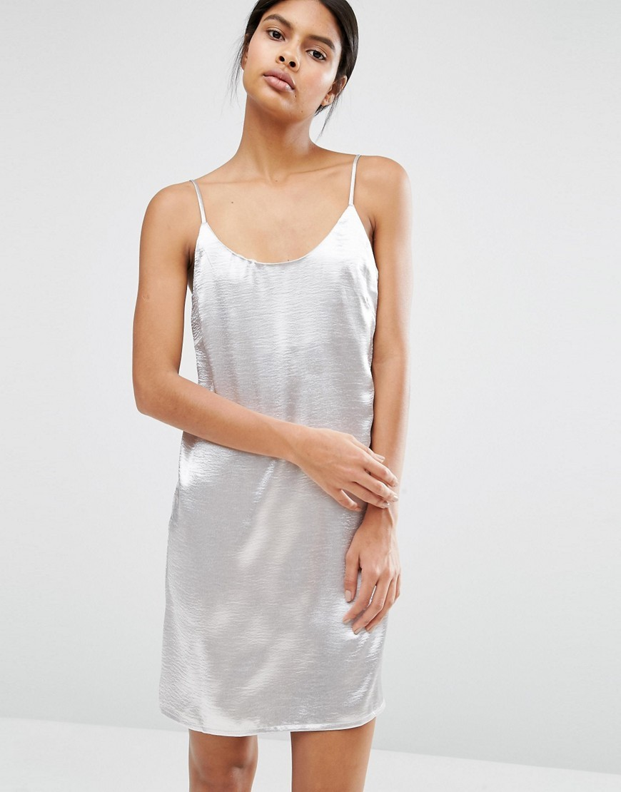 Metallic Satin Cami Dress Silver - sleeve style: spaghetti straps; pattern: plain; predominant colour: silver; occasions: evening; length: just above the knee; fit: body skimming; style: slip dress; neckline: scoop; fibres: polyester/polyamide - 100%; sleeve length: sleeveless; pattern type: fabric; texture group: jersey - stretchy/drapey; season: a/w 2016