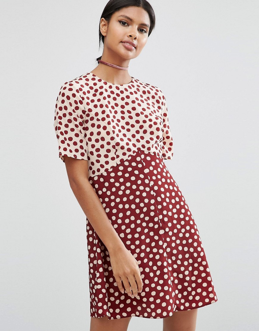 Spot Mix & Match Dress Multi - style: shift; length: mini; pattern: polka dot; secondary colour: white; predominant colour: burgundy; occasions: casual; fit: body skimming; fibres: polyester/polyamide - 100%; neckline: crew; sleeve length: short sleeve; sleeve style: standard; pattern type: fabric; texture group: other - light to midweight; multicoloured: multicoloured; season: a/w 2016; wardrobe: highlight