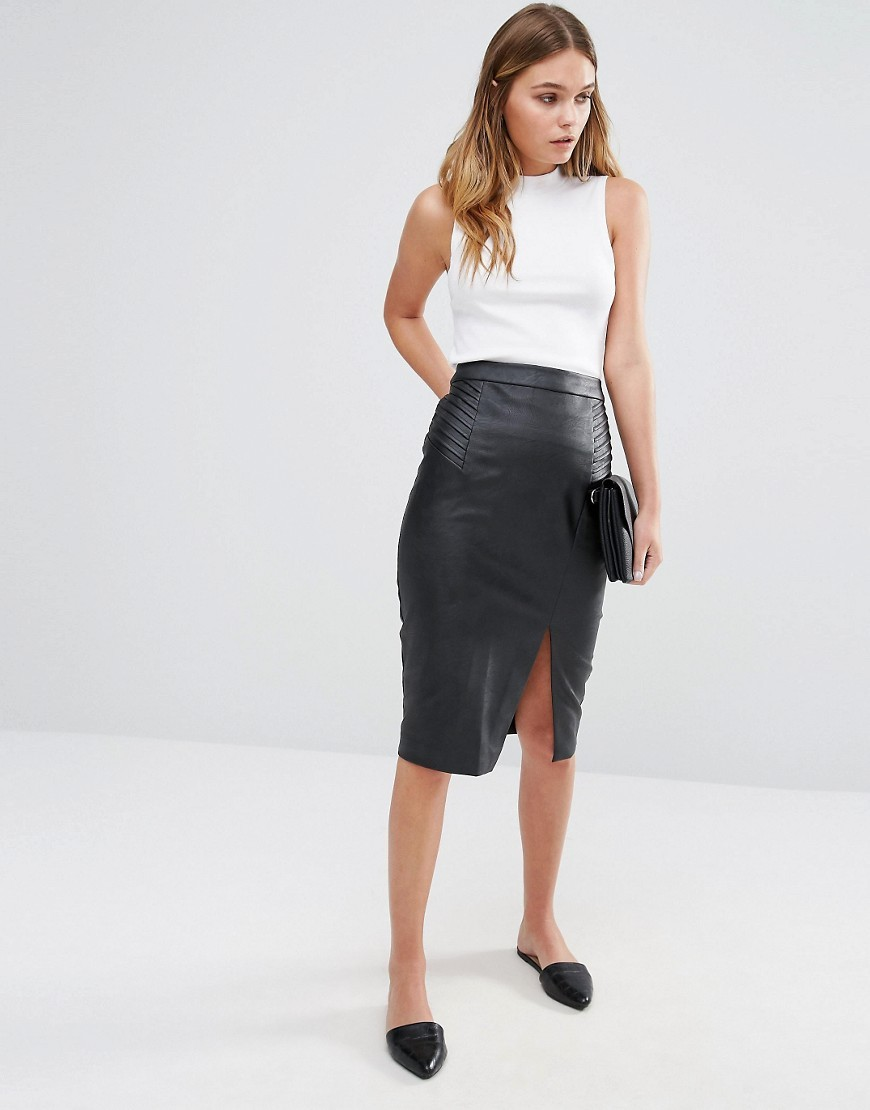 Leather Look Split Front Midi Skirt Black - length: below the knee; pattern: plain; style: pencil; fit: body skimming; hip detail: draws attention to hips; waist: mid/regular rise; predominant colour: black; occasions: evening; fibres: leather - 100%; texture group: leather; pattern type: fabric; season: a/w 2016; wardrobe: event