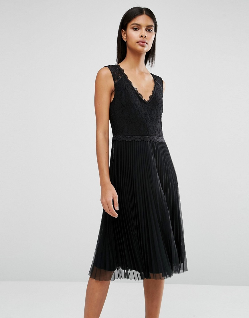 Lace Pleated Dress Black - style: shift; length: below the knee; neckline: v-neck; sleeve style: sleeveless; predominant colour: black; occasions: evening; fit: body skimming; fibres: polyester/polyamide - mix; sleeve length: sleeveless; texture group: lace; pattern type: fabric; pattern: patterned/print; season: a/w 2016
