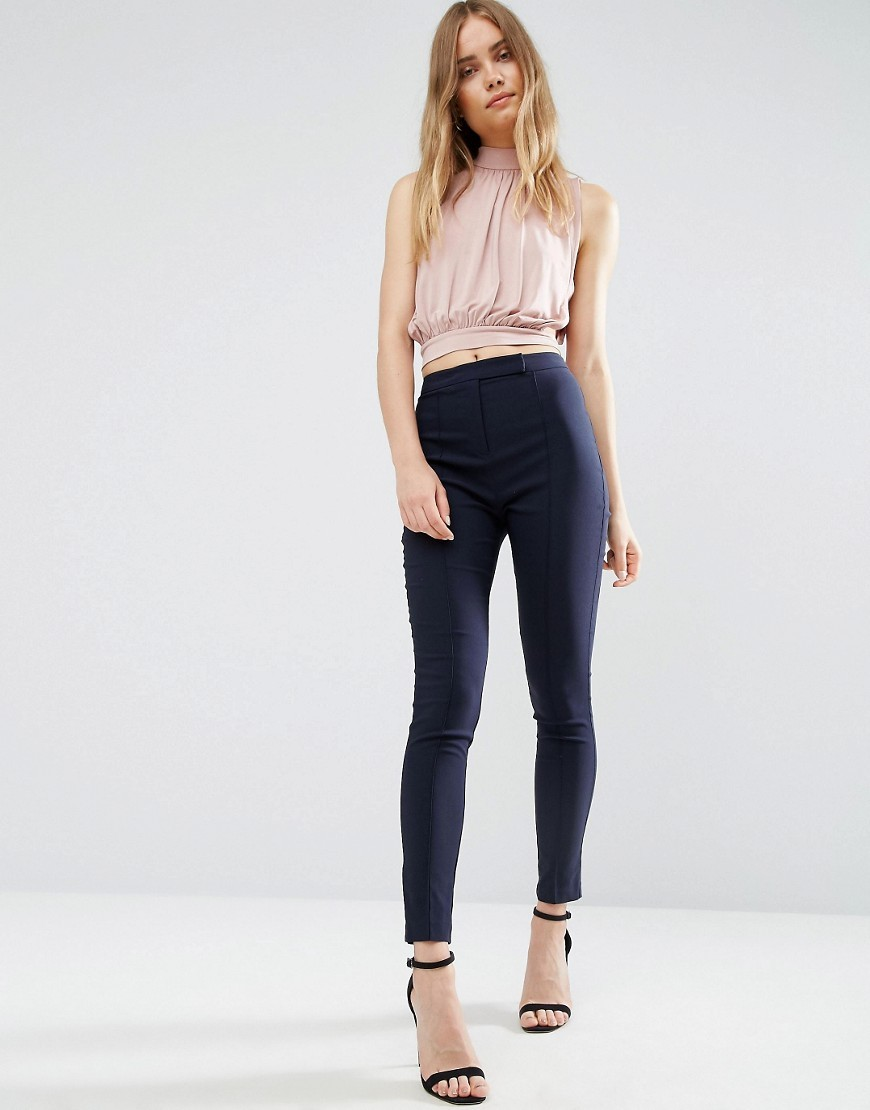 High Waist Trousers In Skinny Fit Navy - pattern: plain; waist: high rise; predominant colour: navy; occasions: casual; length: ankle length; fibres: viscose/rayon - stretch; fit: skinny/tight leg; pattern type: fabric; texture group: other - light to midweight; style: standard; wardrobe: basic; season: a/w 2016