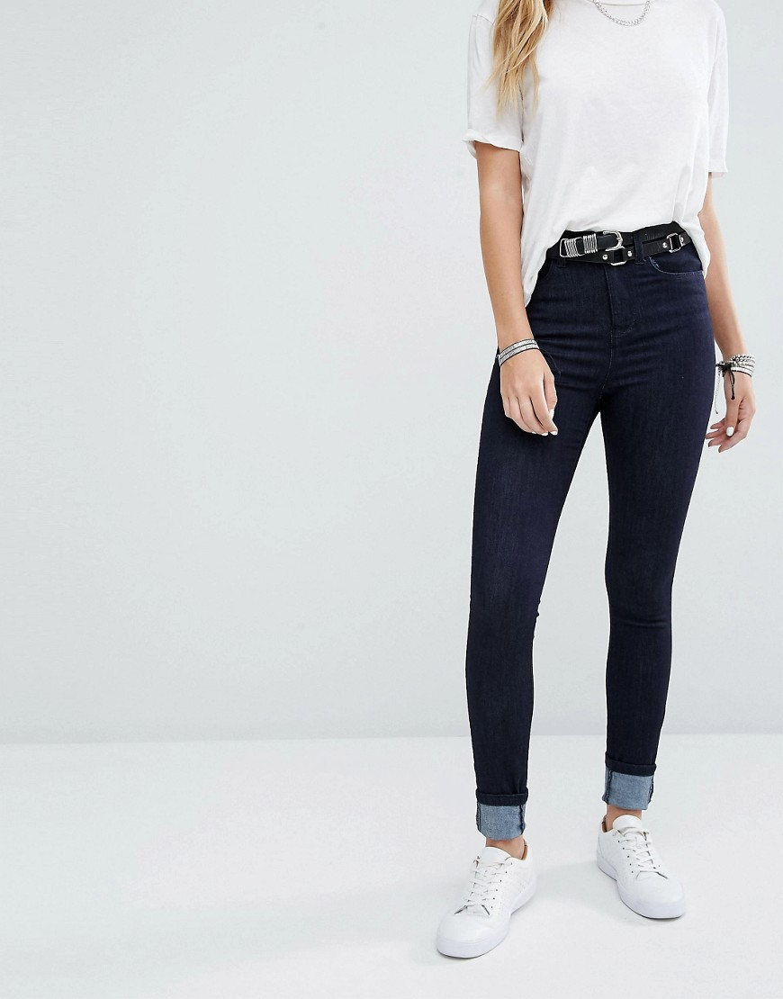 Lexi High Rise Skinny Jeans Dark Wash - style: skinny leg; length: standard; pattern: plain; pocket detail: traditional 5 pocket; waist: mid/regular rise; predominant colour: navy; occasions: casual; fibres: cotton - stretch; texture group: denim; pattern type: fabric; wardrobe: basic; season: a/w 2016