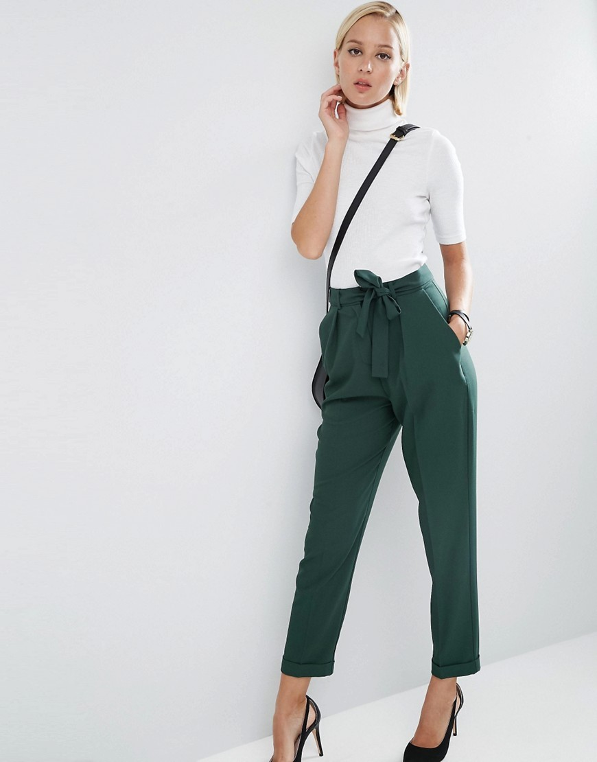 Woven Peg Trousers With Obi Tie Forest Green - length: standard; pattern: plain; style: peg leg; waist: high rise; predominant colour: dark green; occasions: casual, creative work; fibres: polyester/polyamide - stretch; fit: tapered; pattern type: fabric; texture group: woven light midweight; season: a/w 2016; wardrobe: highlight