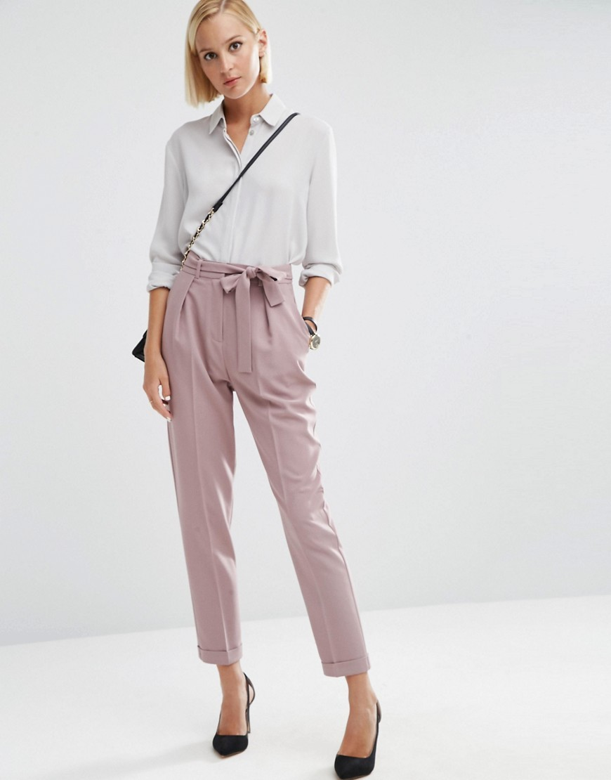 Woven Peg Trousers With Obi Tie Dark Blush - length: standard; pattern: plain; style: peg leg; waist: high rise; predominant colour: lilac; occasions: casual, creative work; fibres: polyester/polyamide - 100%; fit: tapered; pattern type: fabric; texture group: woven light midweight; season: a/w 2016; wardrobe: highlight