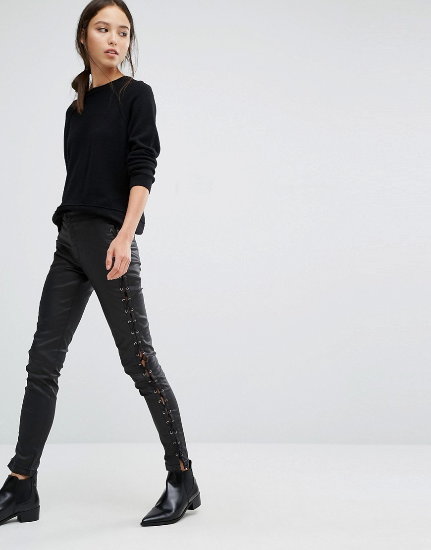 Leather Look Lace Up Trousers Black - length: standard; pattern: plain; waist: mid/regular rise; predominant colour: black; occasions: casual, creative work; fibres: polyester/polyamide - 100%; texture group: leather; fit: skinny/tight leg; pattern type: fabric; style: standard; season: a/w 2016; wardrobe: highlight