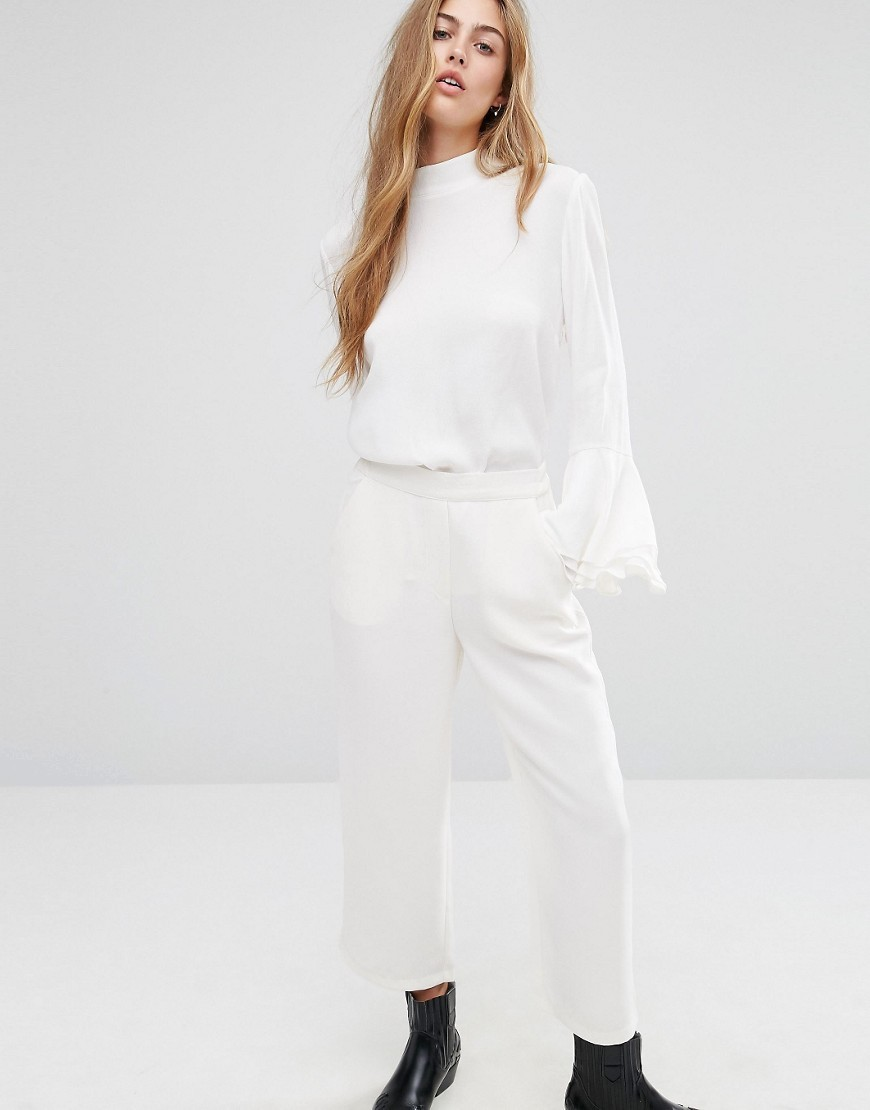 Tailored Culotte White - pattern: plain; waist: mid/regular rise; predominant colour: white; length: ankle length; fibres: polyester/polyamide - 100%; waist detail: feature waist detail; texture group: crepes; fit: wide leg; pattern type: fabric; style: standard; occasions: creative work; wardrobe: basic; season: a/w 2016